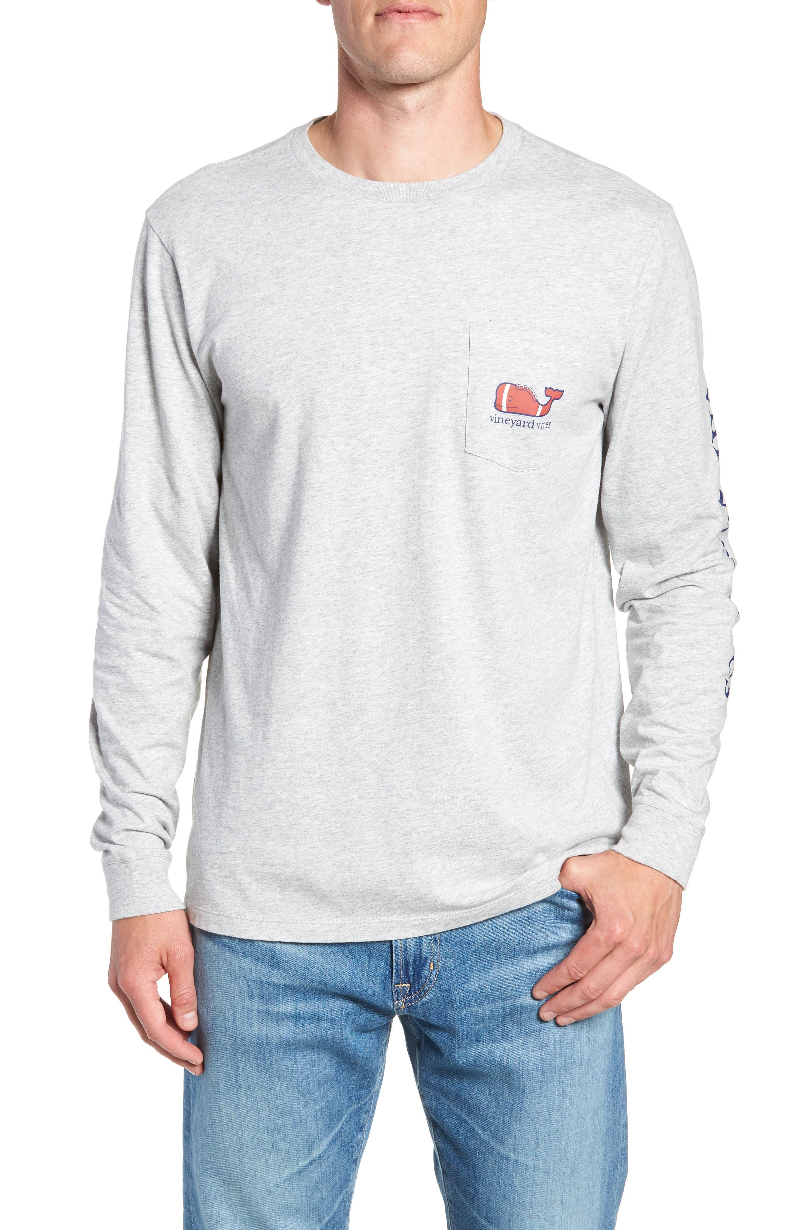Football Whale Long Sleeve Pocket T-Shirt,                             Main thumbnail 1, color,                             GRAY HEATHER
