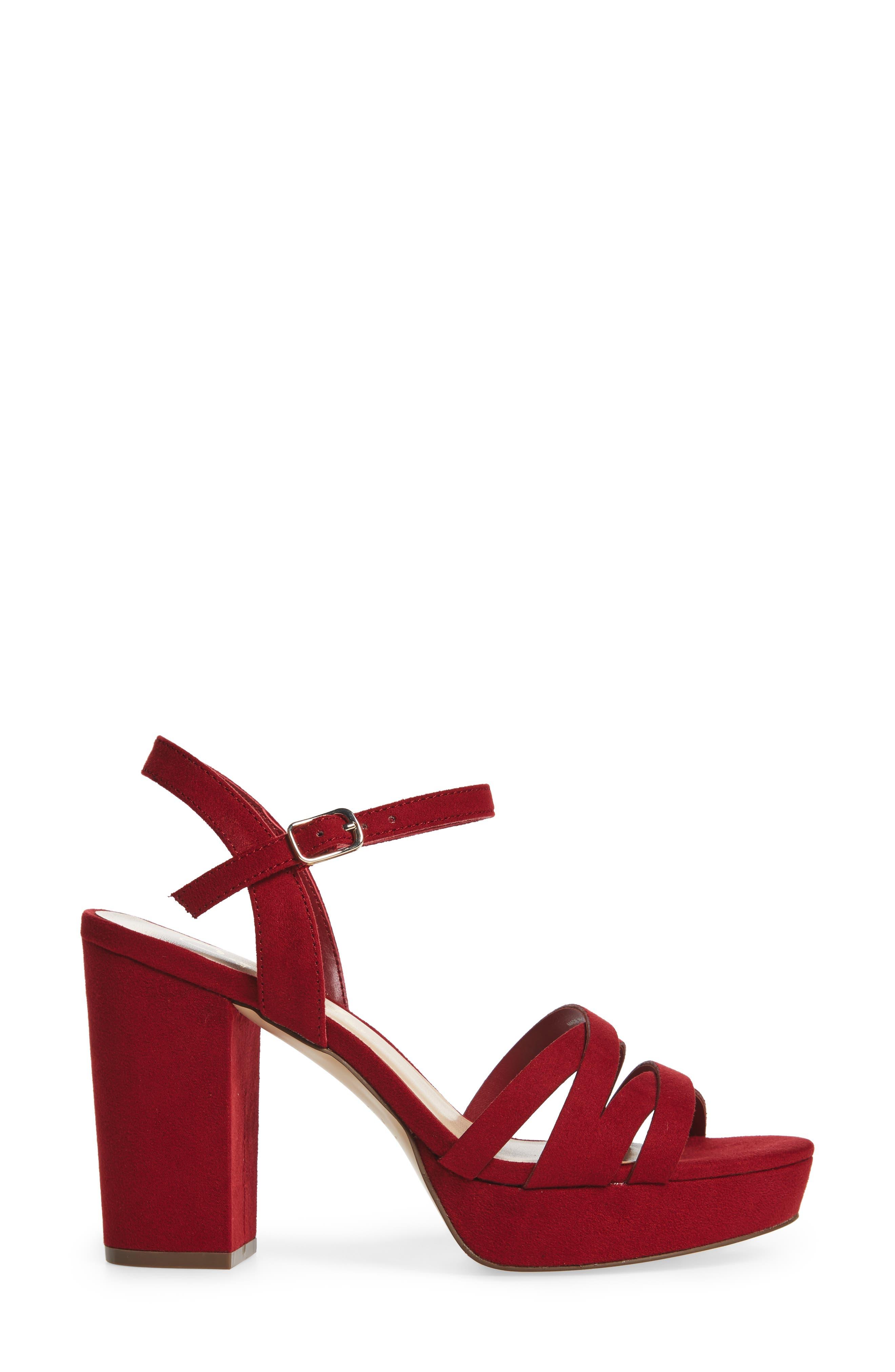 Paxx Platform Sandal,                             Alternate thumbnail 3, color,                             RED FAUX SUEDE