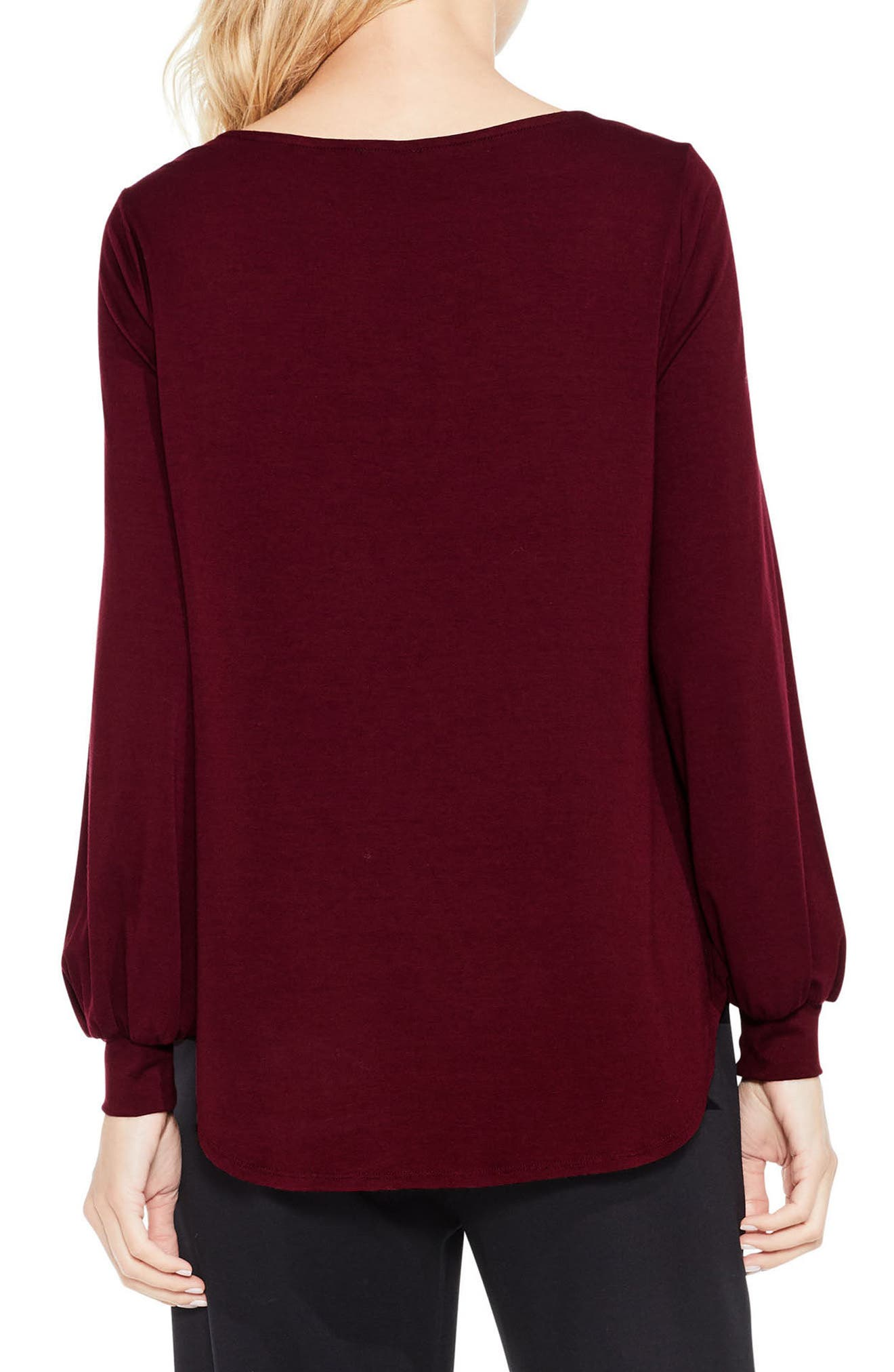 Long Sleeve Foldover Mix Media Blouse,                             Alternate thumbnail 2, color,                             930