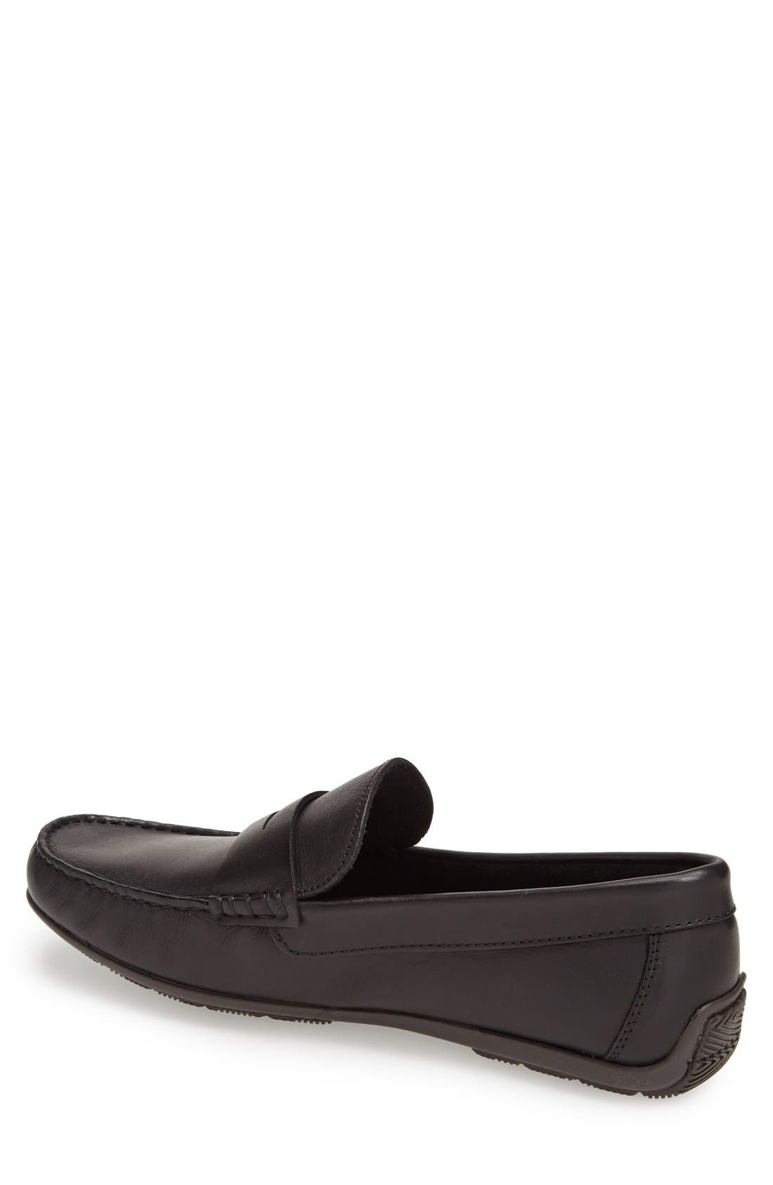 'Paris' Leather Penny Loafer,                             Alternate thumbnail 2, color,                             BLACK