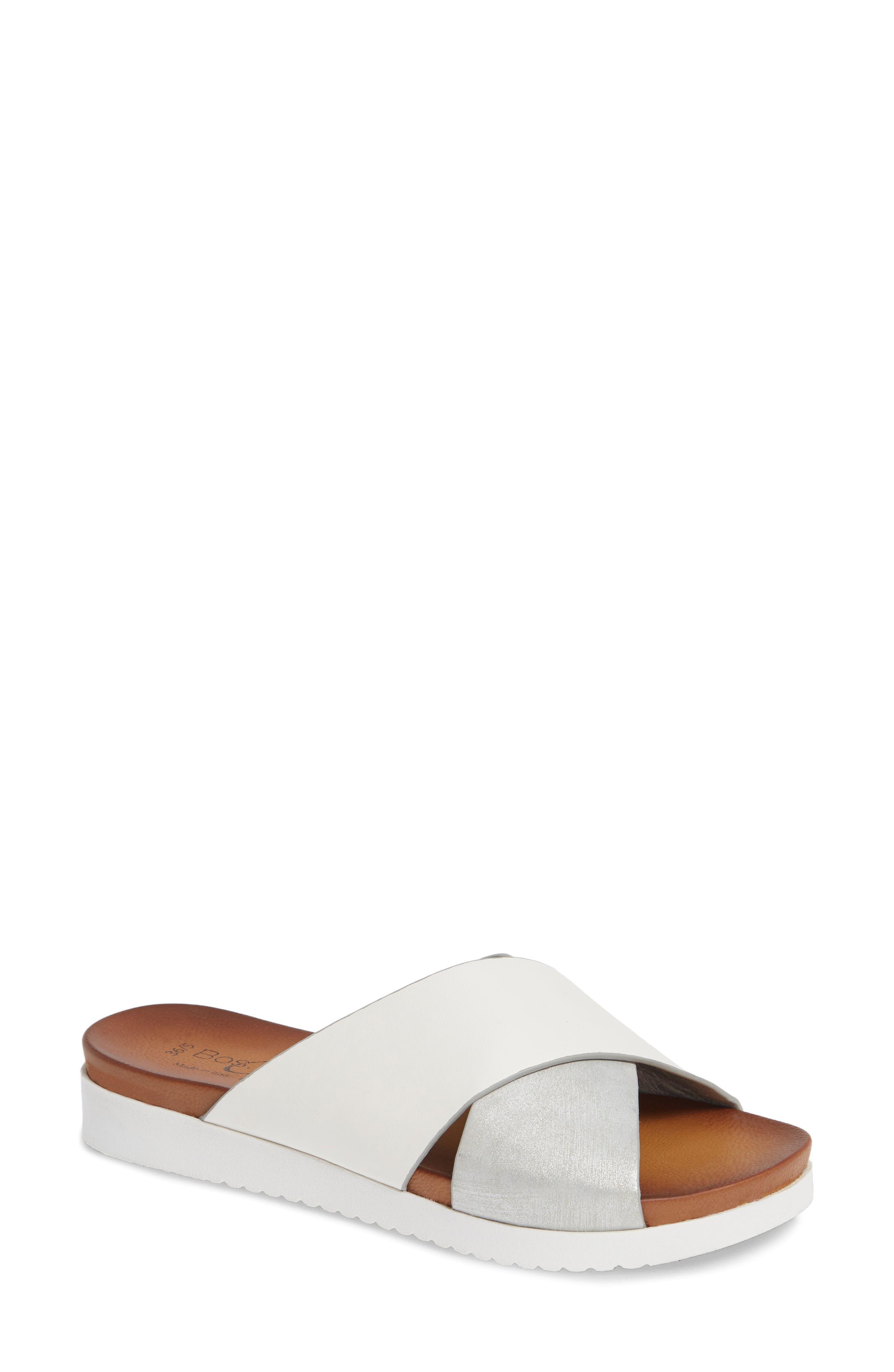 Rwon Slide Sandal,                             Main thumbnail 1, color,                             WHITE/ SILVER LEATHER