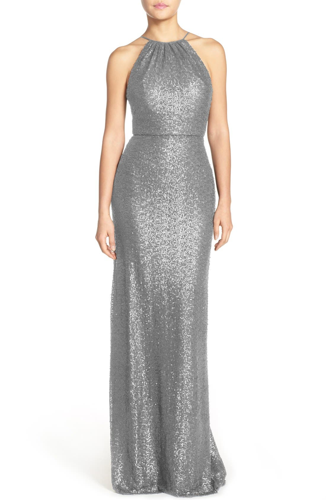 'Chandler' Sequin Tulle Halter Style Gown,                             Main thumbnail 2, color,