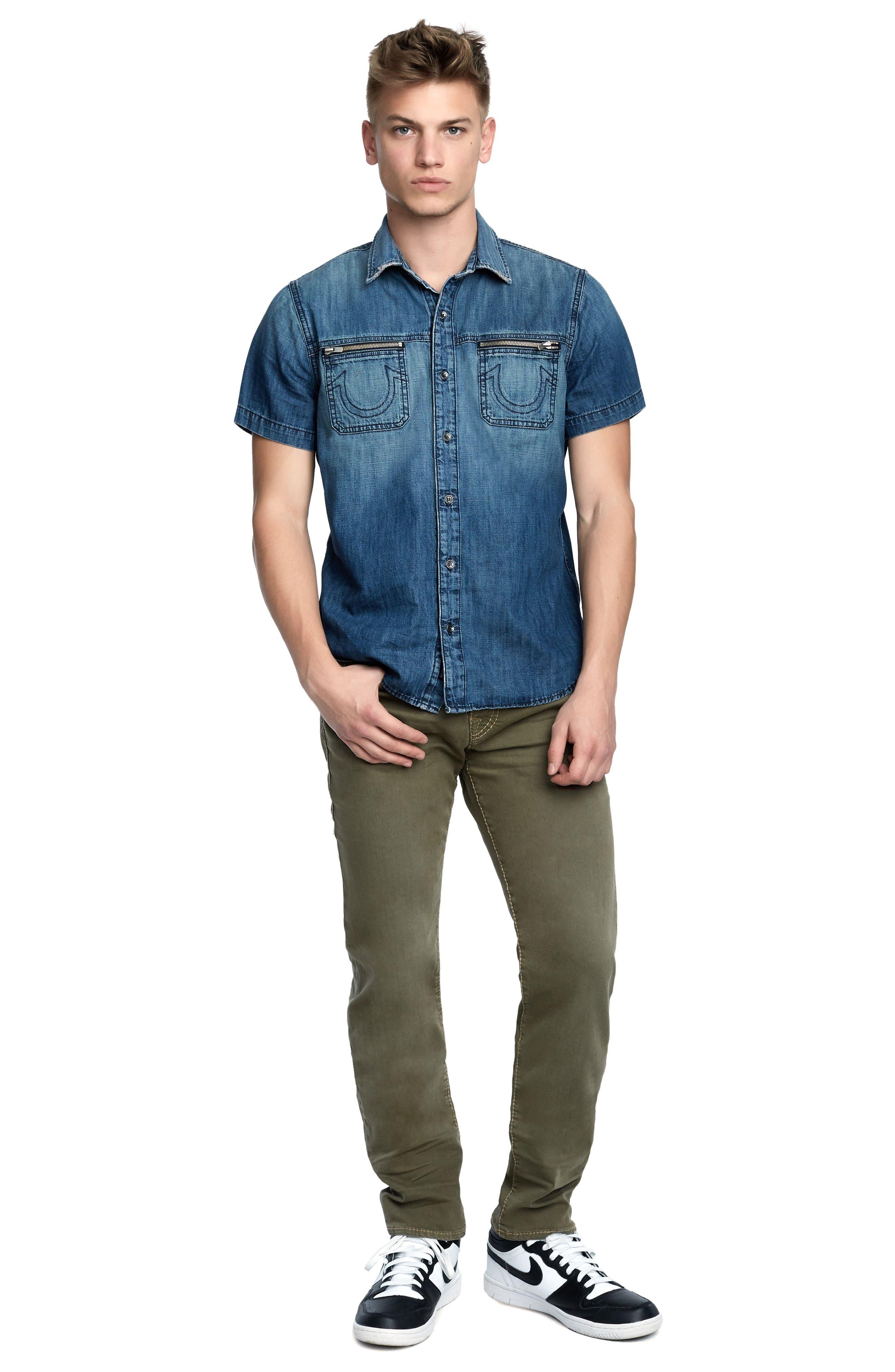 Zip Pocket Denim Shirt,                             Alternate thumbnail 3, color,                             SEA PORT
