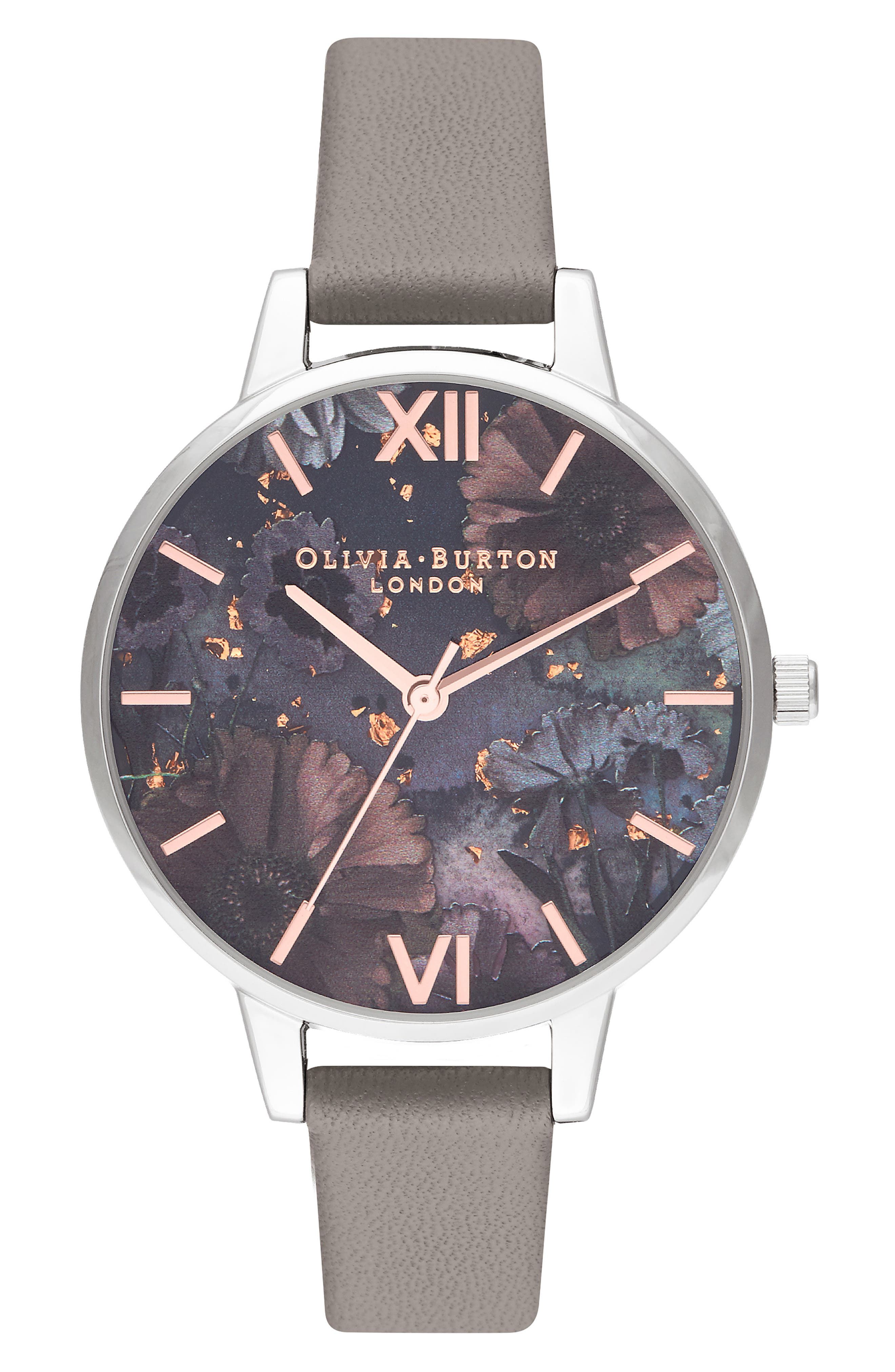 Celestial Leather Strap Watch, 34mm,                             Main thumbnail 1, color,                             LOND GREY/ FLORAL GLIT/SILVER