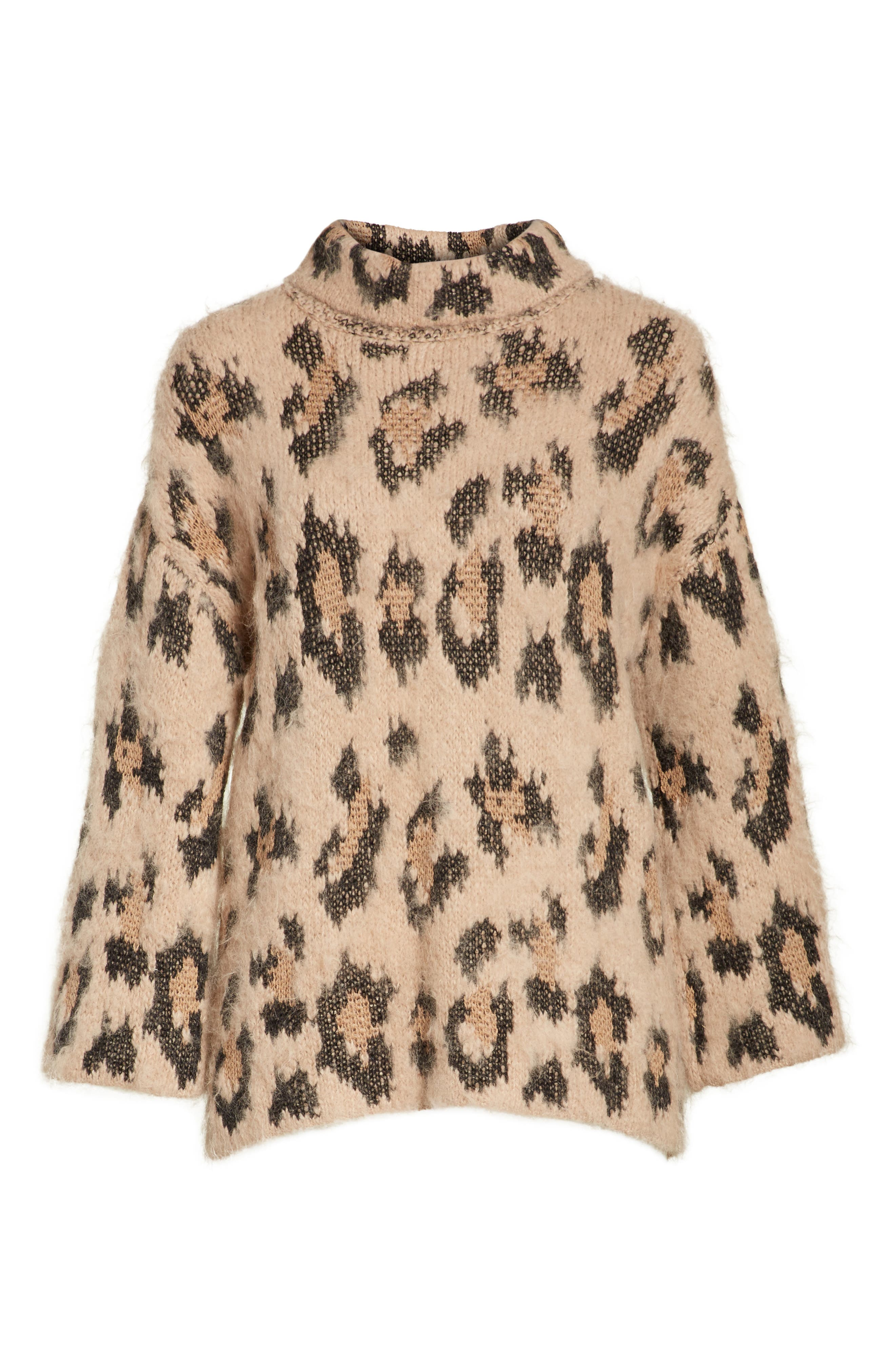 leopard print chunky sweater,                             Alternate thumbnail 6, color,                             206