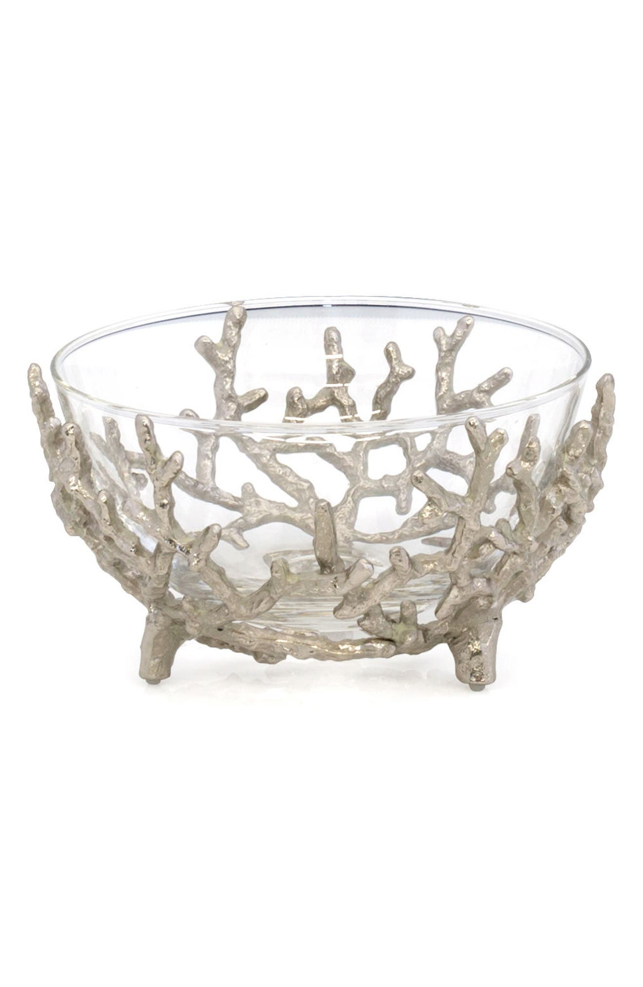 Ocean Reef Small Glass Bowl,                         Main,                         color, SILVER