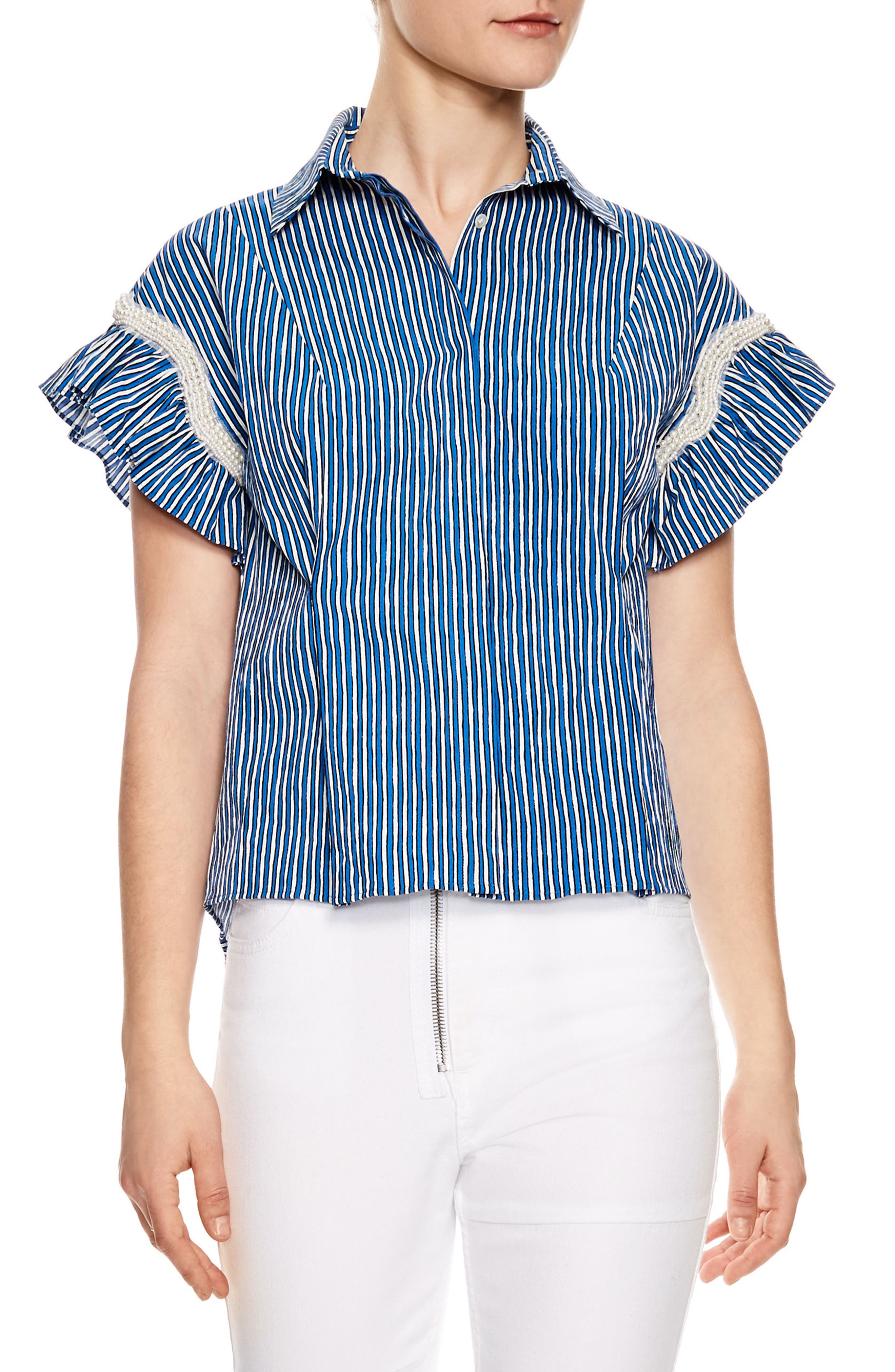 Bleu Crulen Stretch Cotton Top,                             Main thumbnail 1, color,