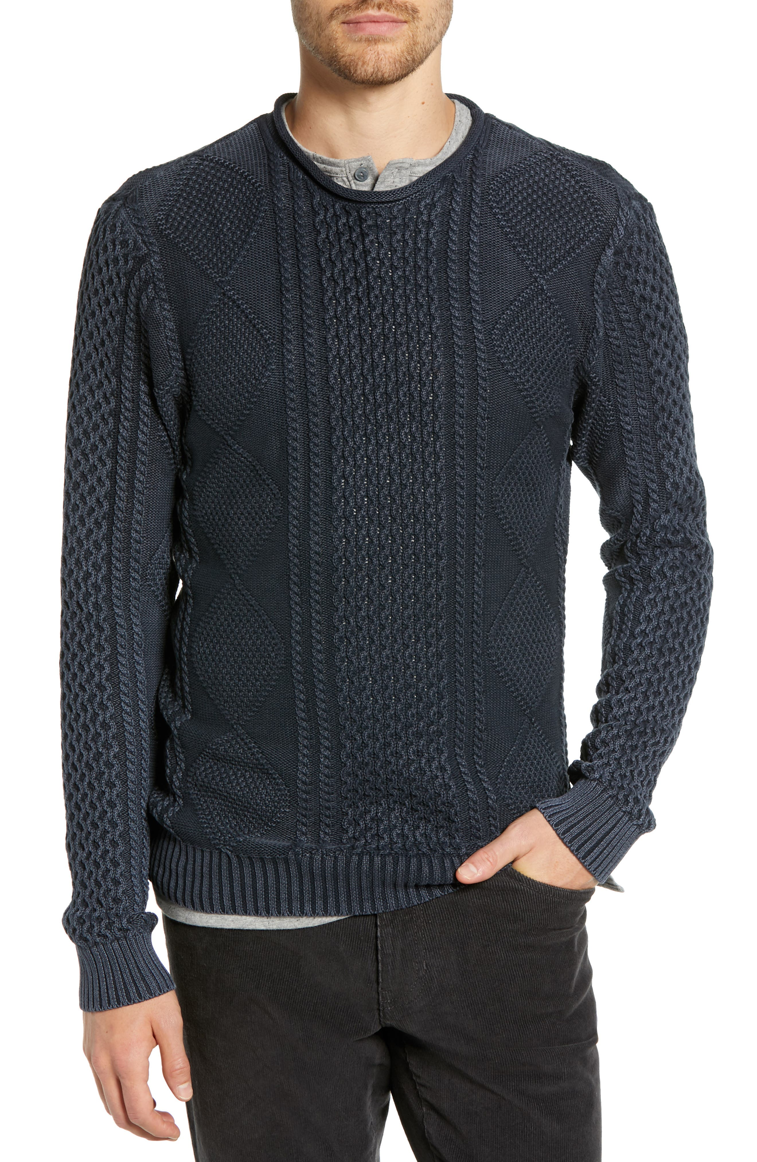 Fisherman Sweater,                         Main,                         color, NAVY IRIS
