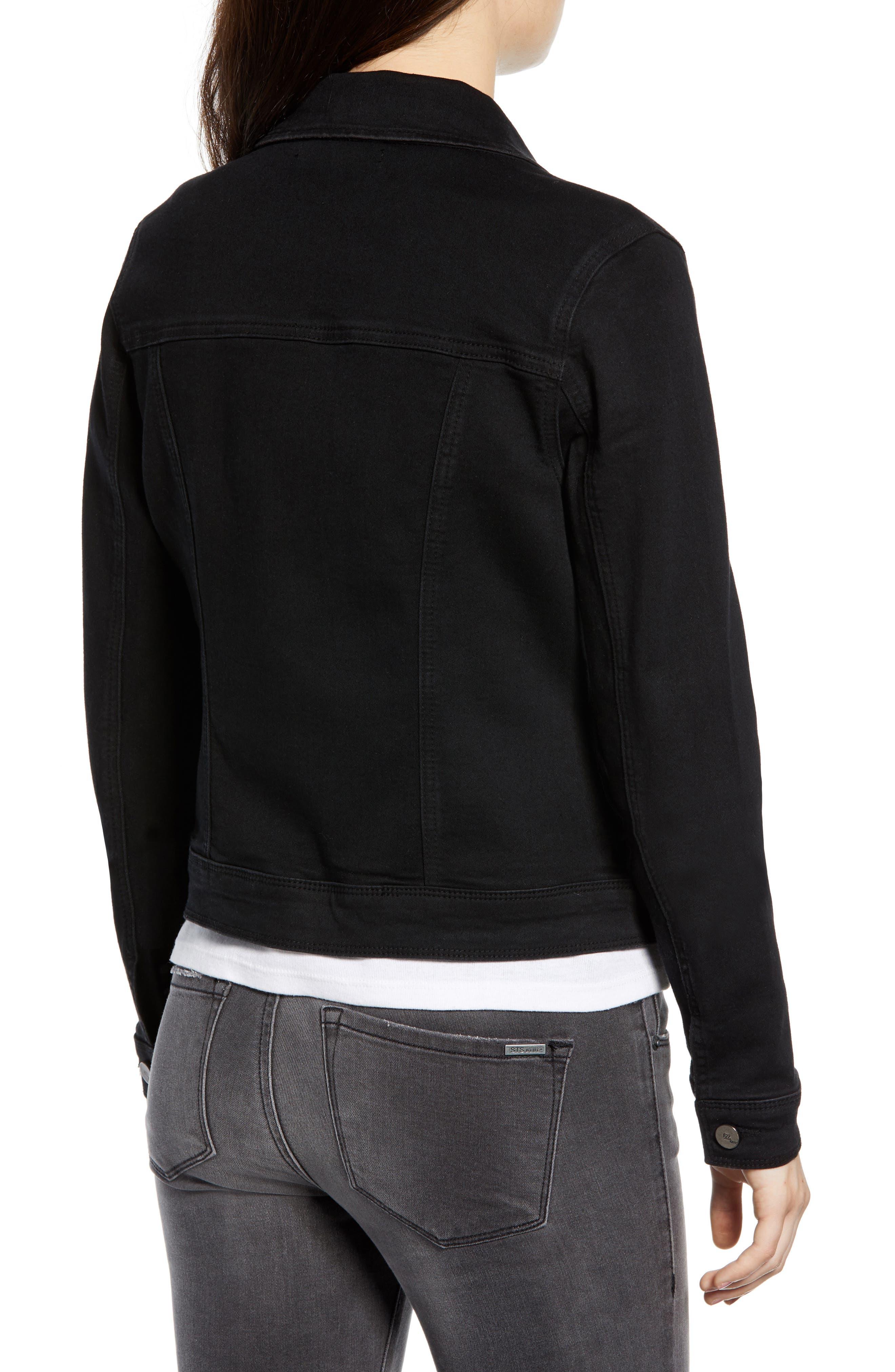 Contour Denim Jacket,                             Alternate thumbnail 2, color,                             BLACK
