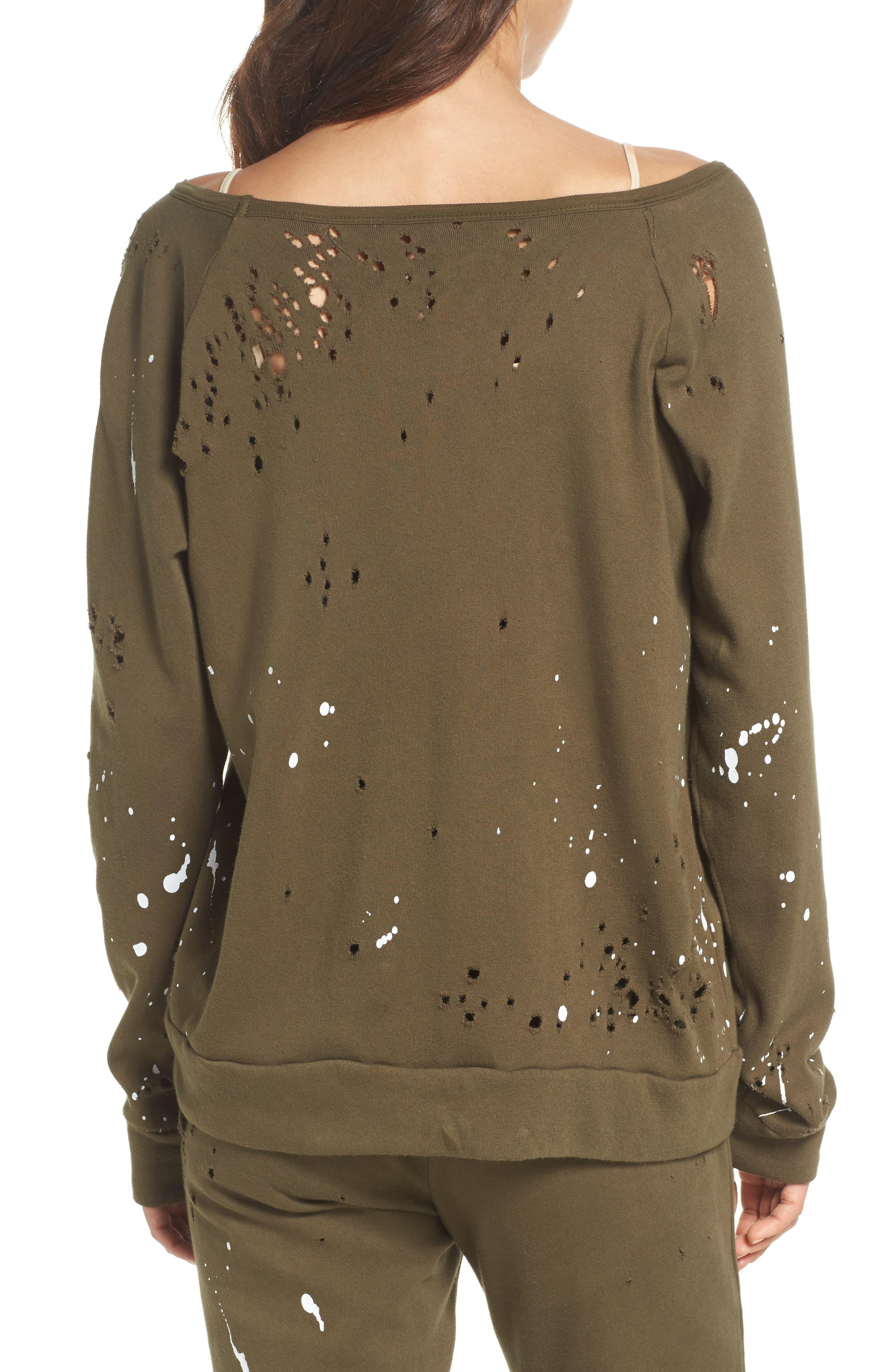 Distressed Fleece Sweatshirt,                             Alternate thumbnail 4, color,