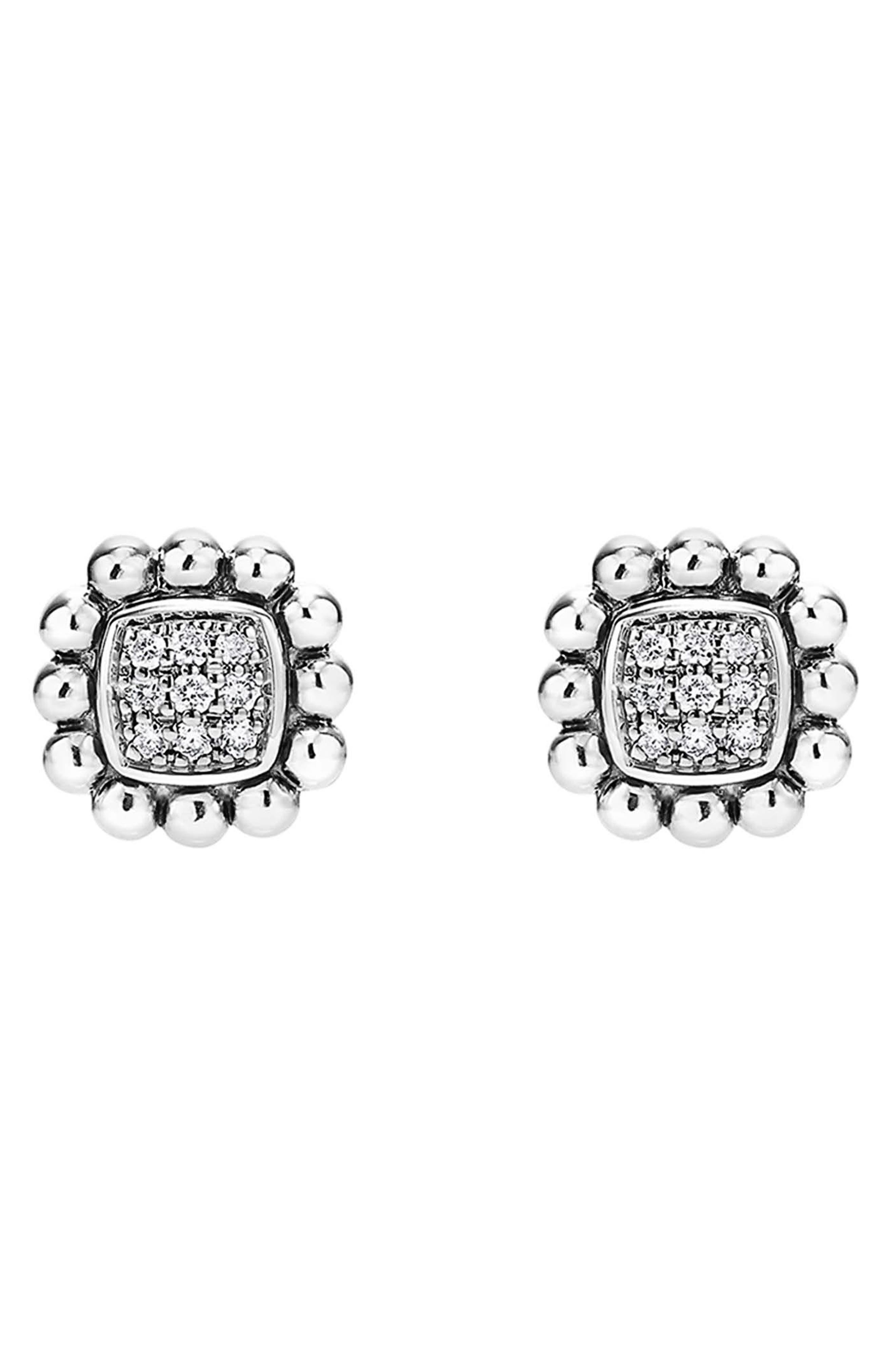 Caviar Spark Diamond Square Stud Earrings,                             Alternate thumbnail 2, color,                             SILVER/ DIAMOND