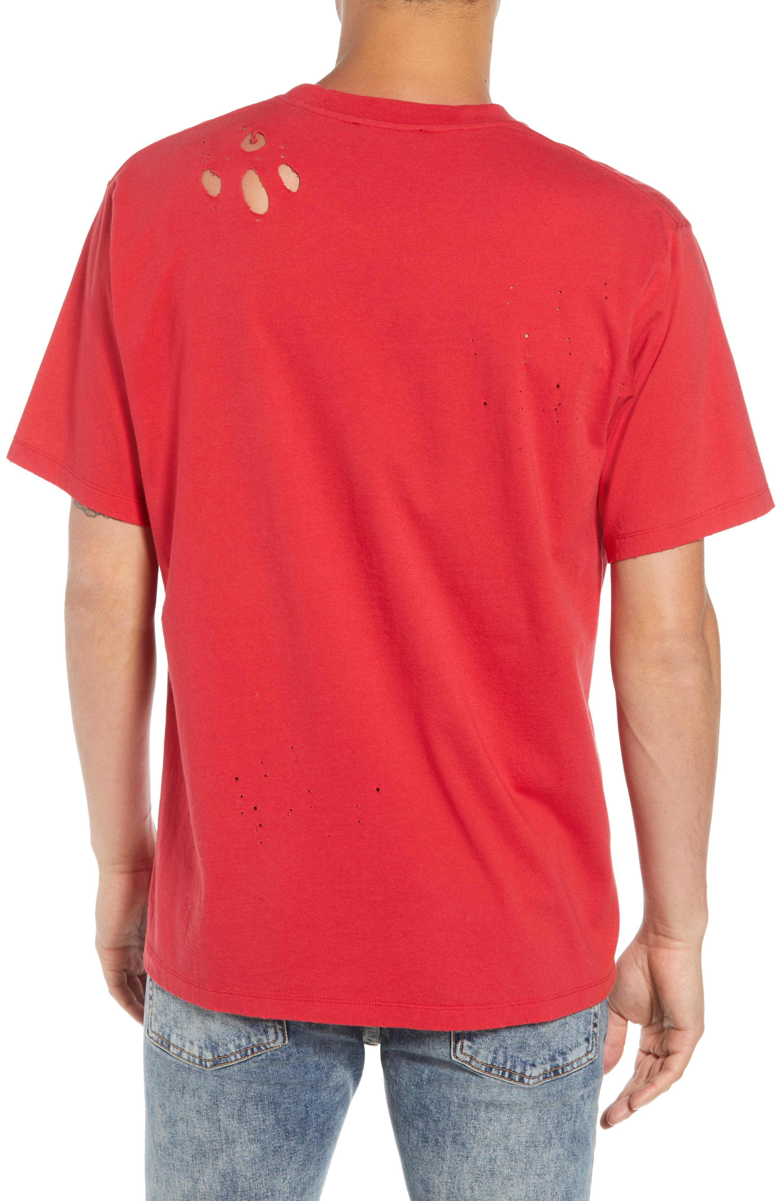 Vampire Distressed Graphic T-Shirt,                             Alternate thumbnail 2, color,                             RED