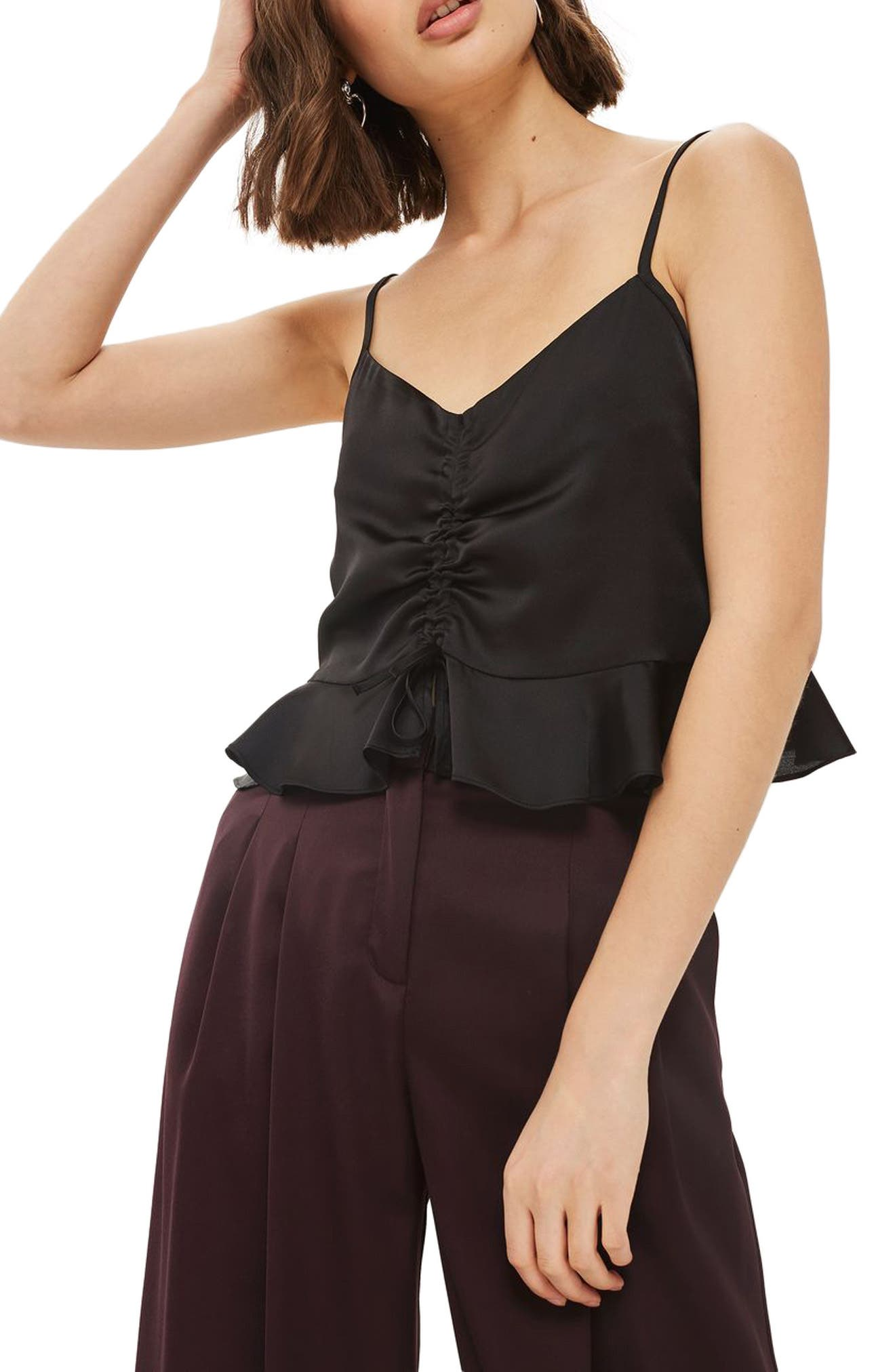 Ruby Ruched Satin Camisole Top,                             Main thumbnail 1, color,                             001