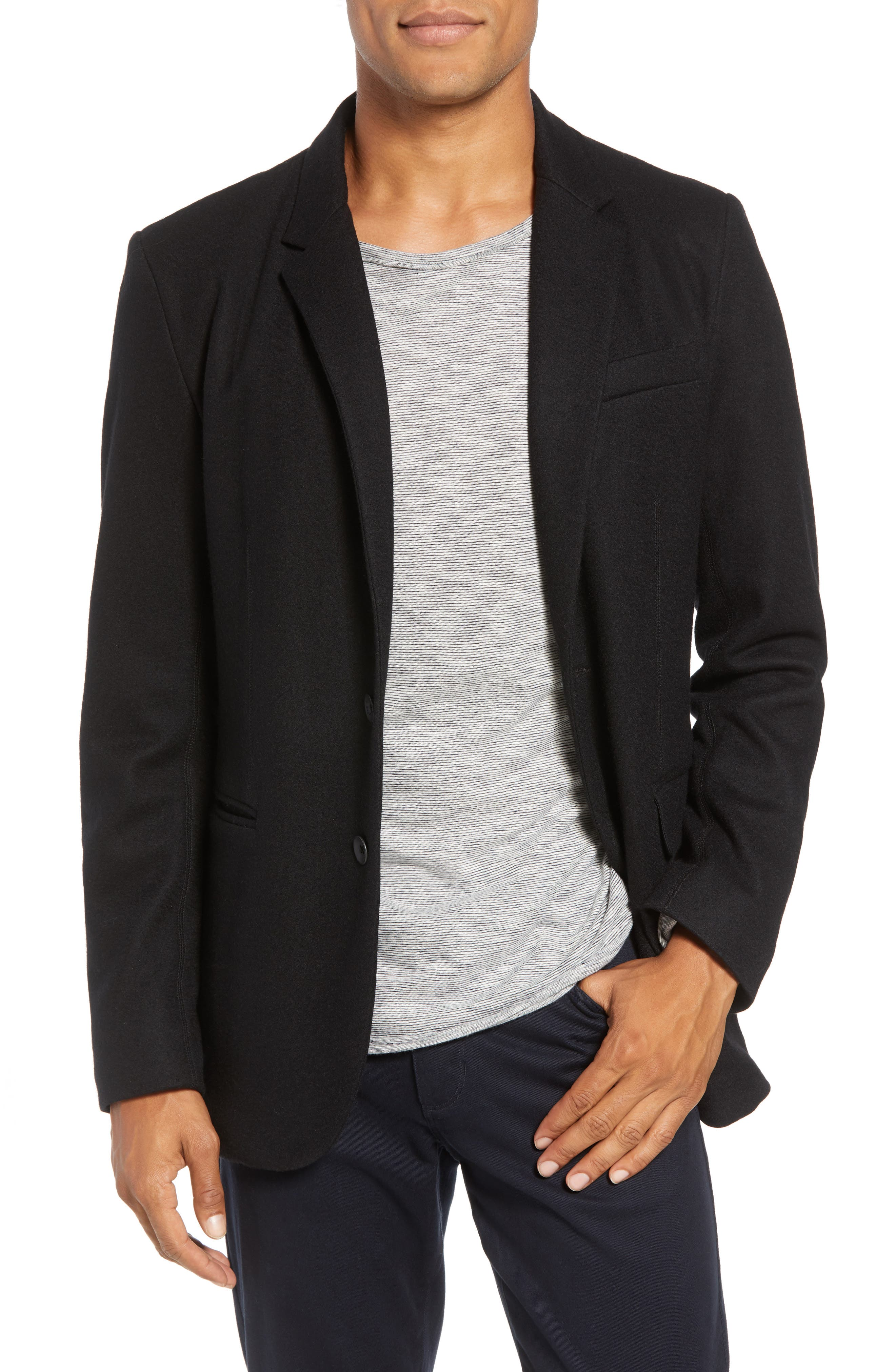 Deconstructed Razor Slim Fit Wool Jacket,                             Main thumbnail 1, color,                             BLACK