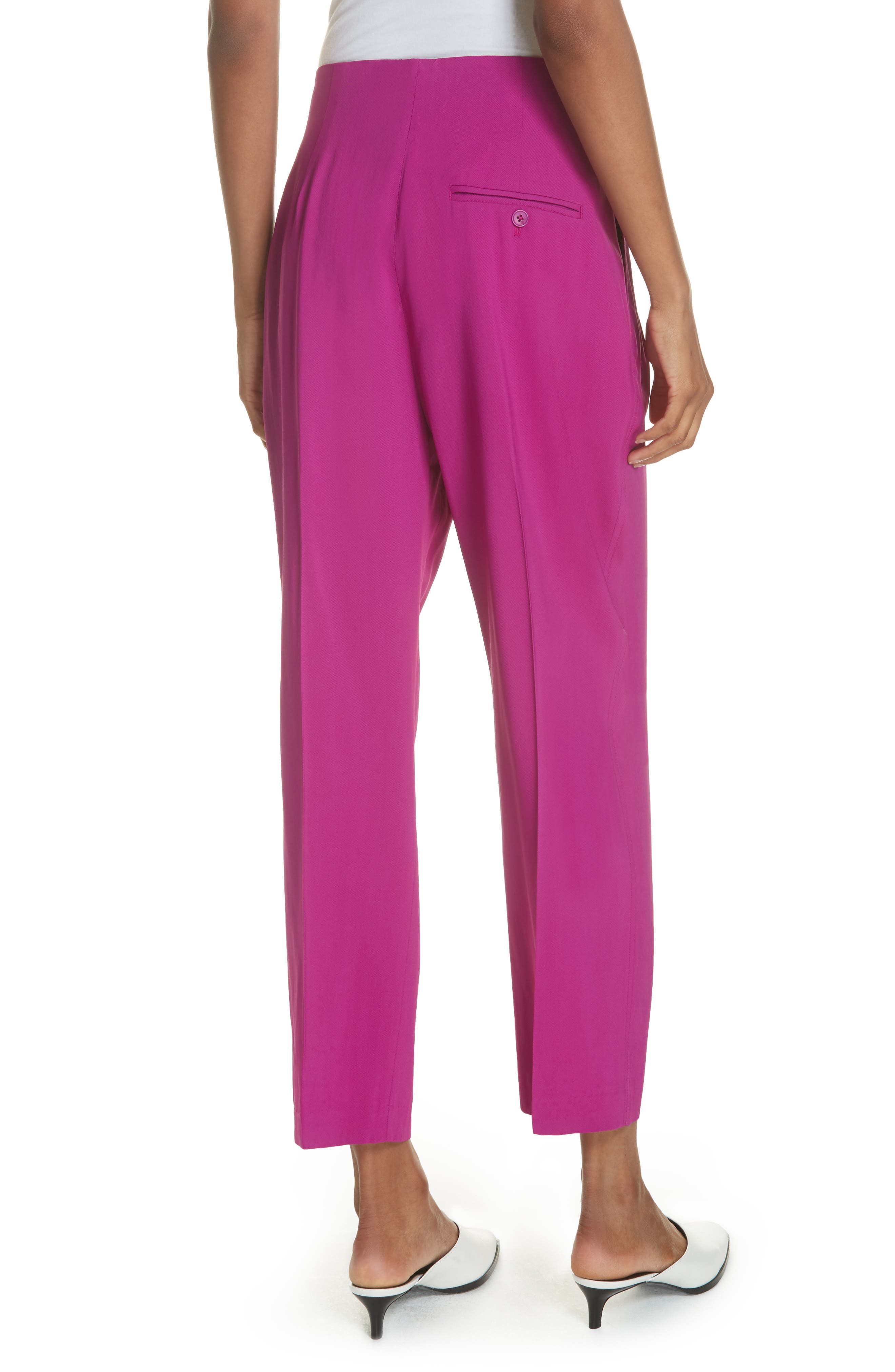 Pleated Crop Trousers,                             Alternate thumbnail 2, color,                             FUCHSIA