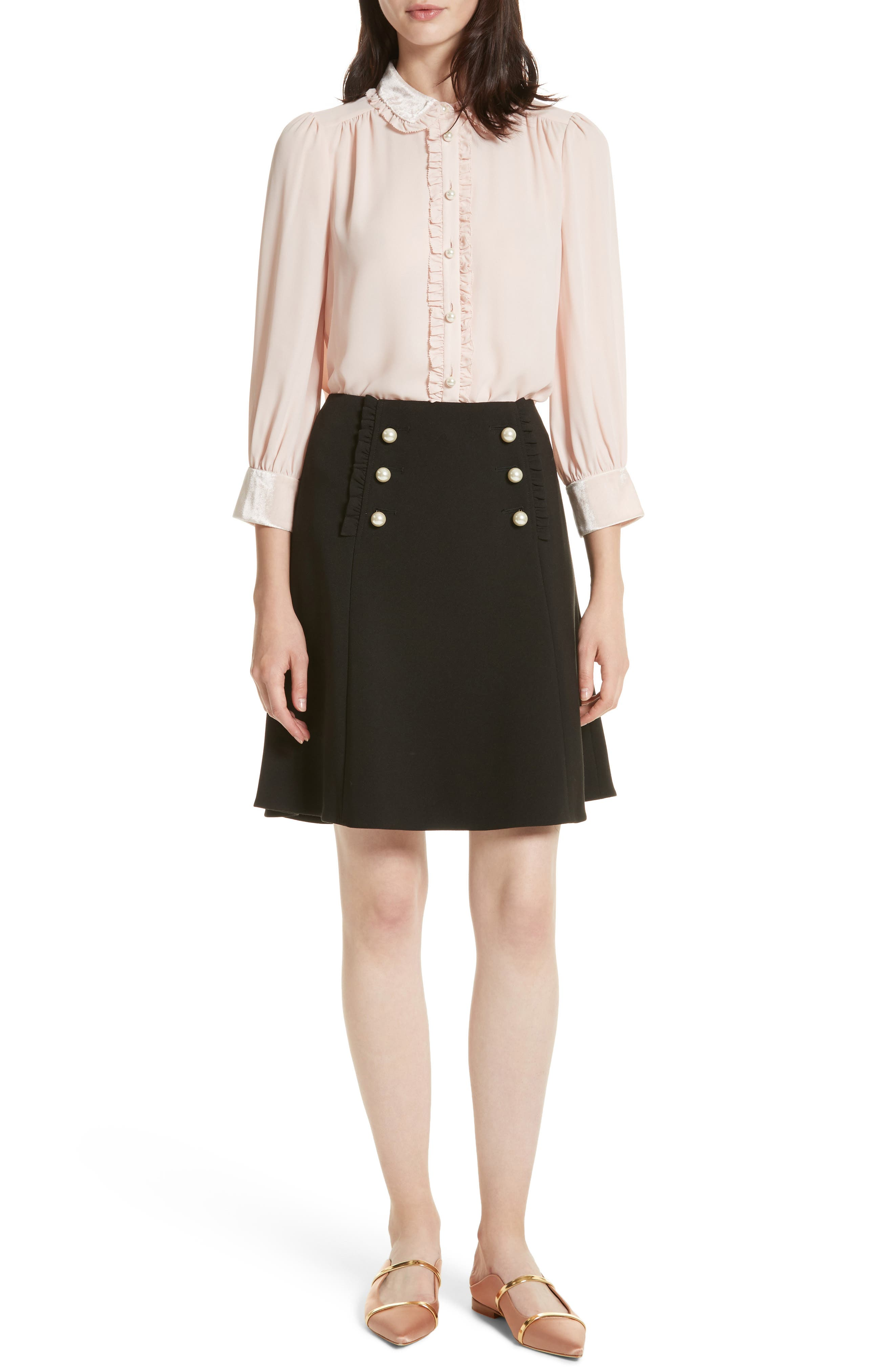 pearly button crepe skirt,                             Alternate thumbnail 7, color,                             001