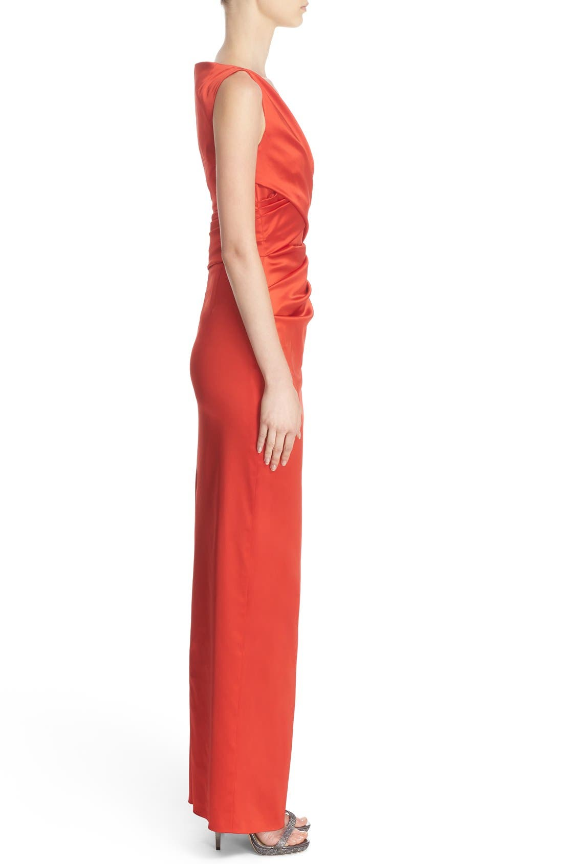 V-Neck Ruched Stretch Satin Column Gown,                             Alternate thumbnail 9, color,