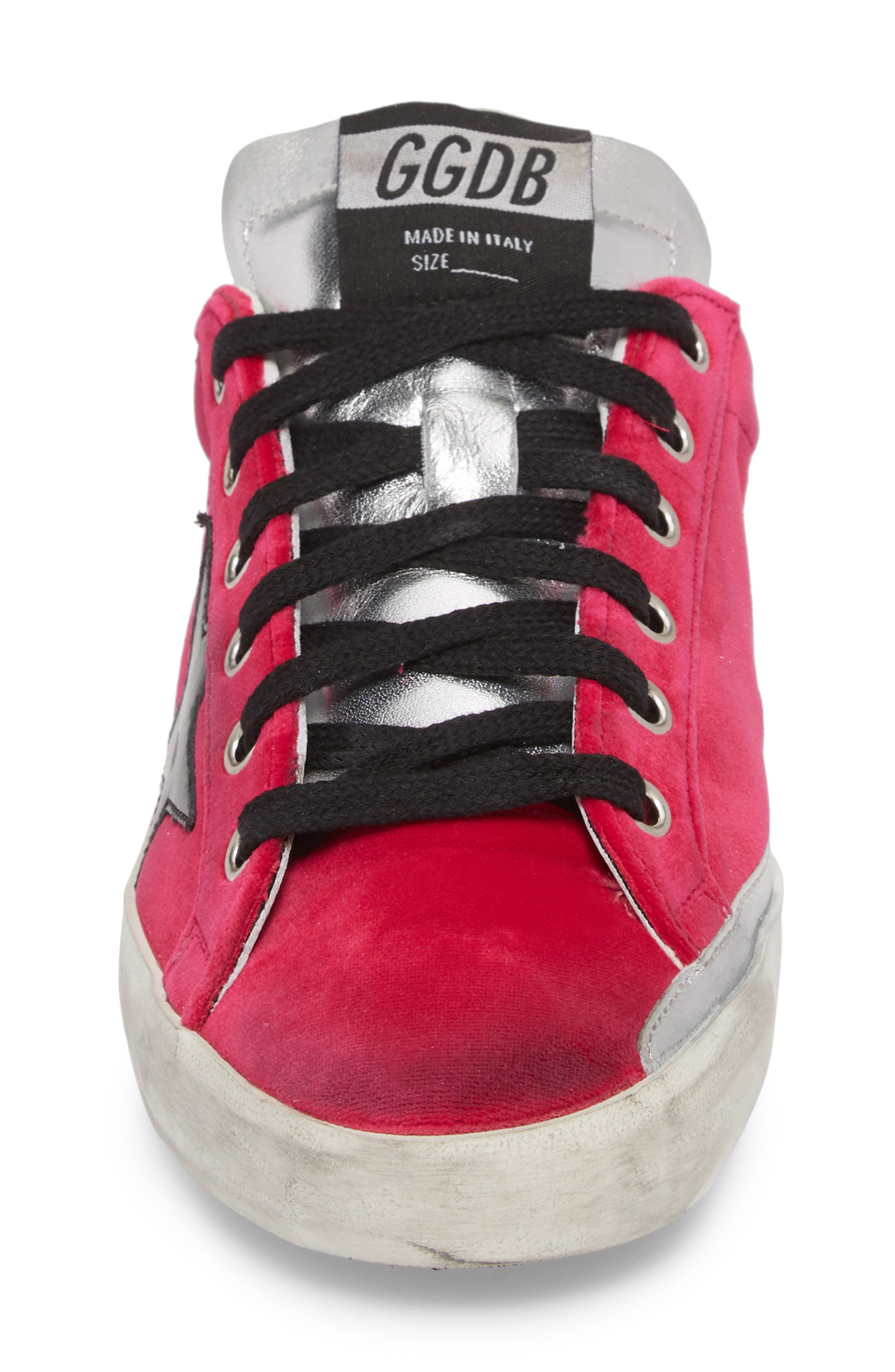 Superstar Low Top Sneaker,                             Alternate thumbnail 4, color,                             FUCHSIA/ BLACK