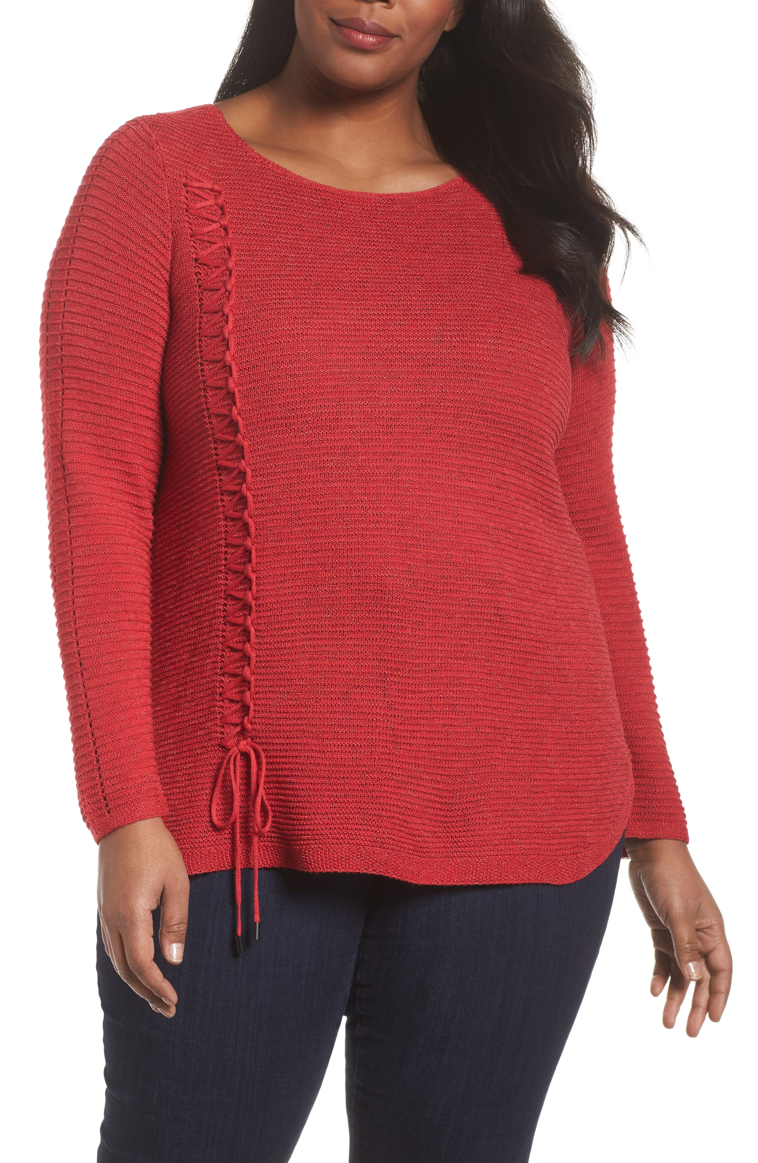 Braided Up Sweater,                         Main,                         color, TRUE RED