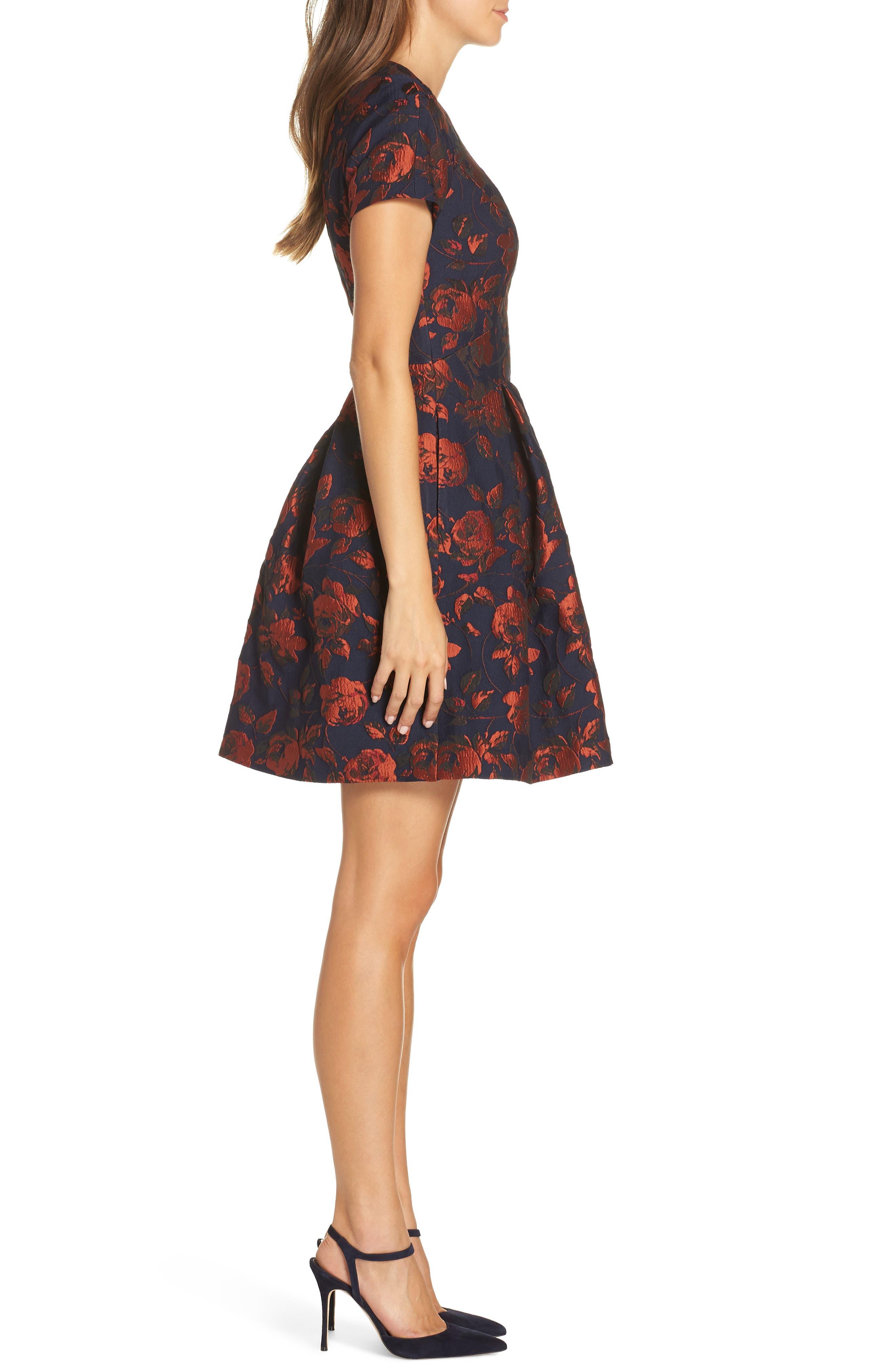 Jacquard Fit & Flare Dress,                             Alternate thumbnail 3, color,                             NAVY MULTI