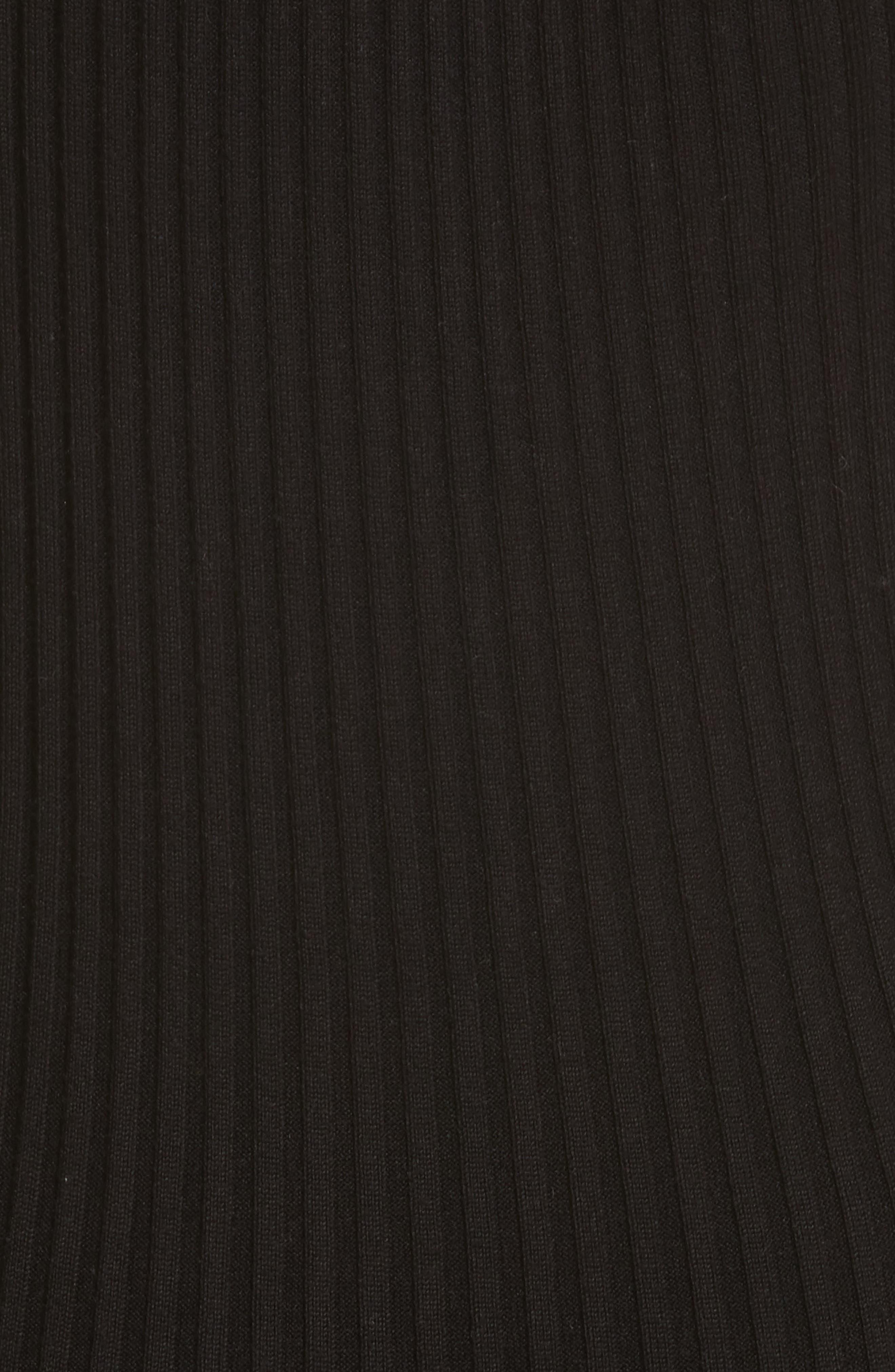 Knit Stretch Silk One-Shoulder Dress,                             Alternate thumbnail 5, color,                             001
