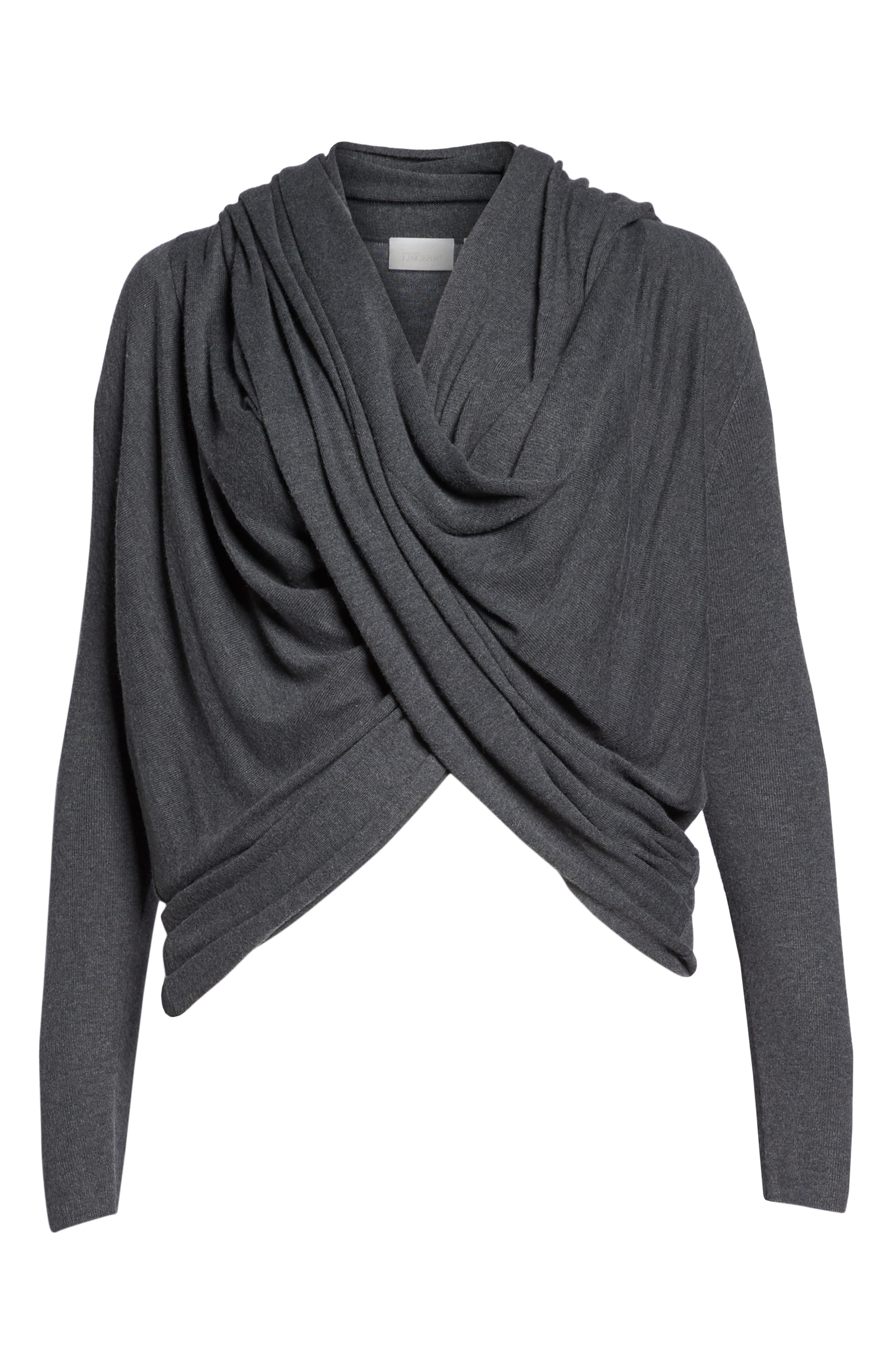 Wrap Front Cardigan,                             Alternate thumbnail 6, color,                             DARK STEEL HEATHER