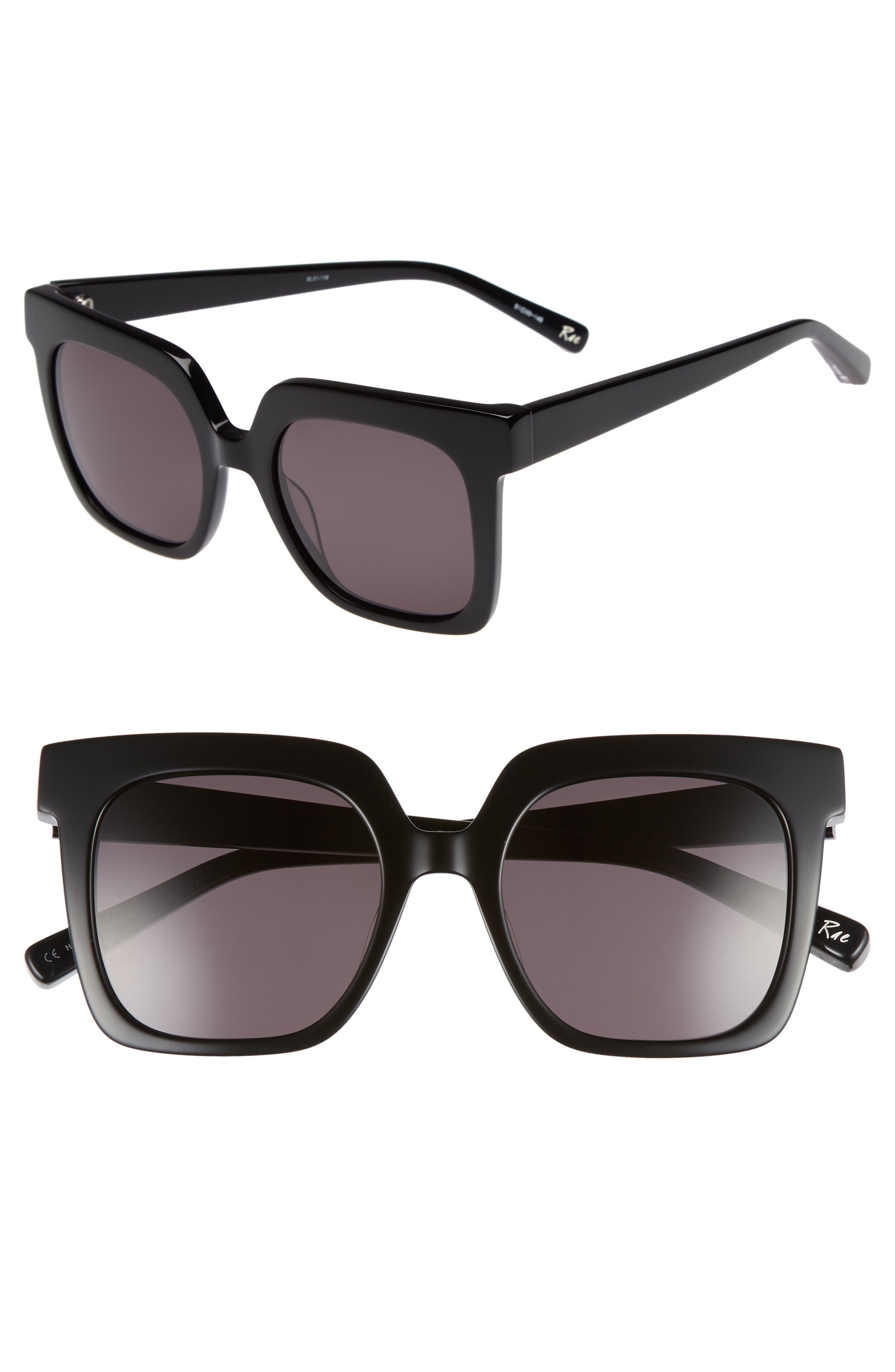 Rae 51mm Square Sunglasses,                             Main thumbnail 1, color,                             001