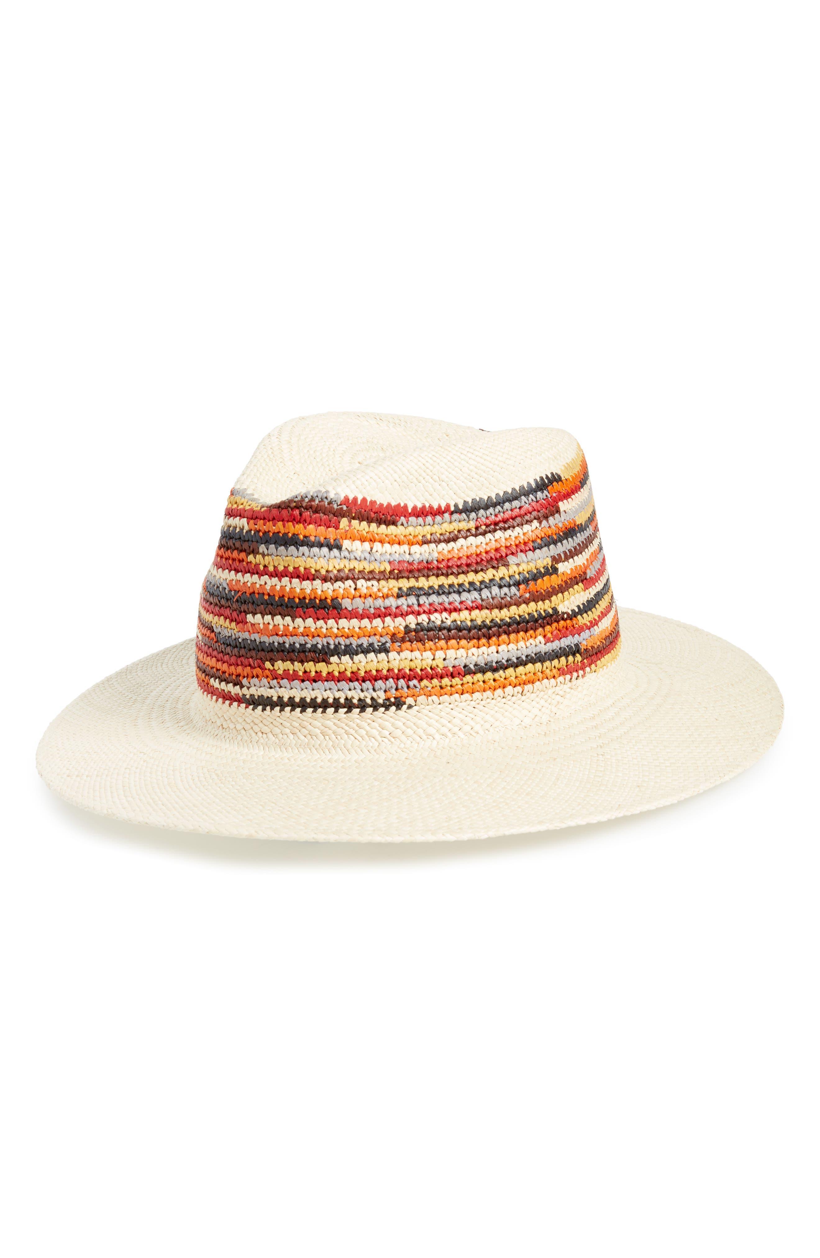 Panama Straw Hat,                             Main thumbnail 1, color,                             RED MULTI