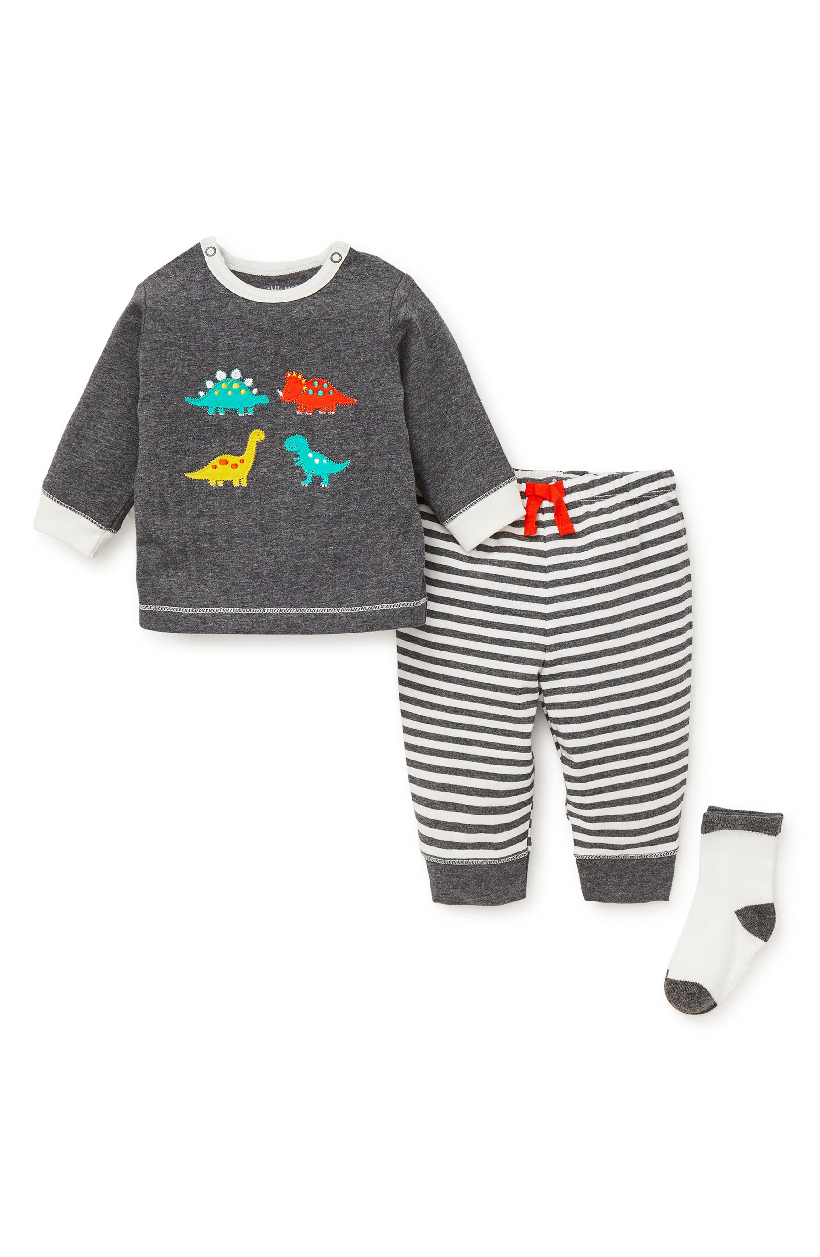 Fun Dinos Sweatshirt, Jogger Pants & Socks Set,                             Alternate thumbnail 2, color,                             GREY HEATHER MULTI