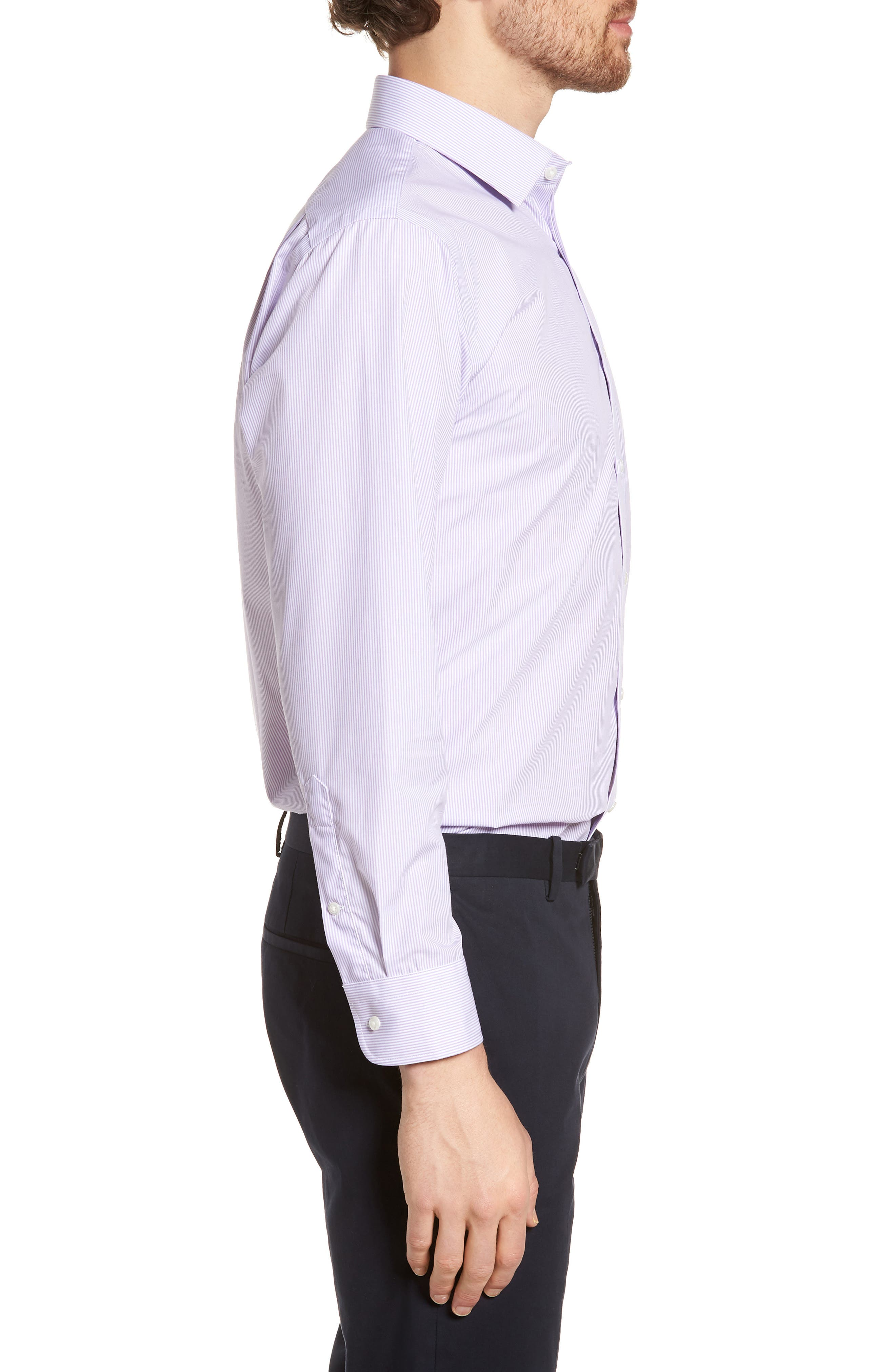 Trim Fit Non-Iron Stripe Dress Shirt,                             Alternate thumbnail 22, color,