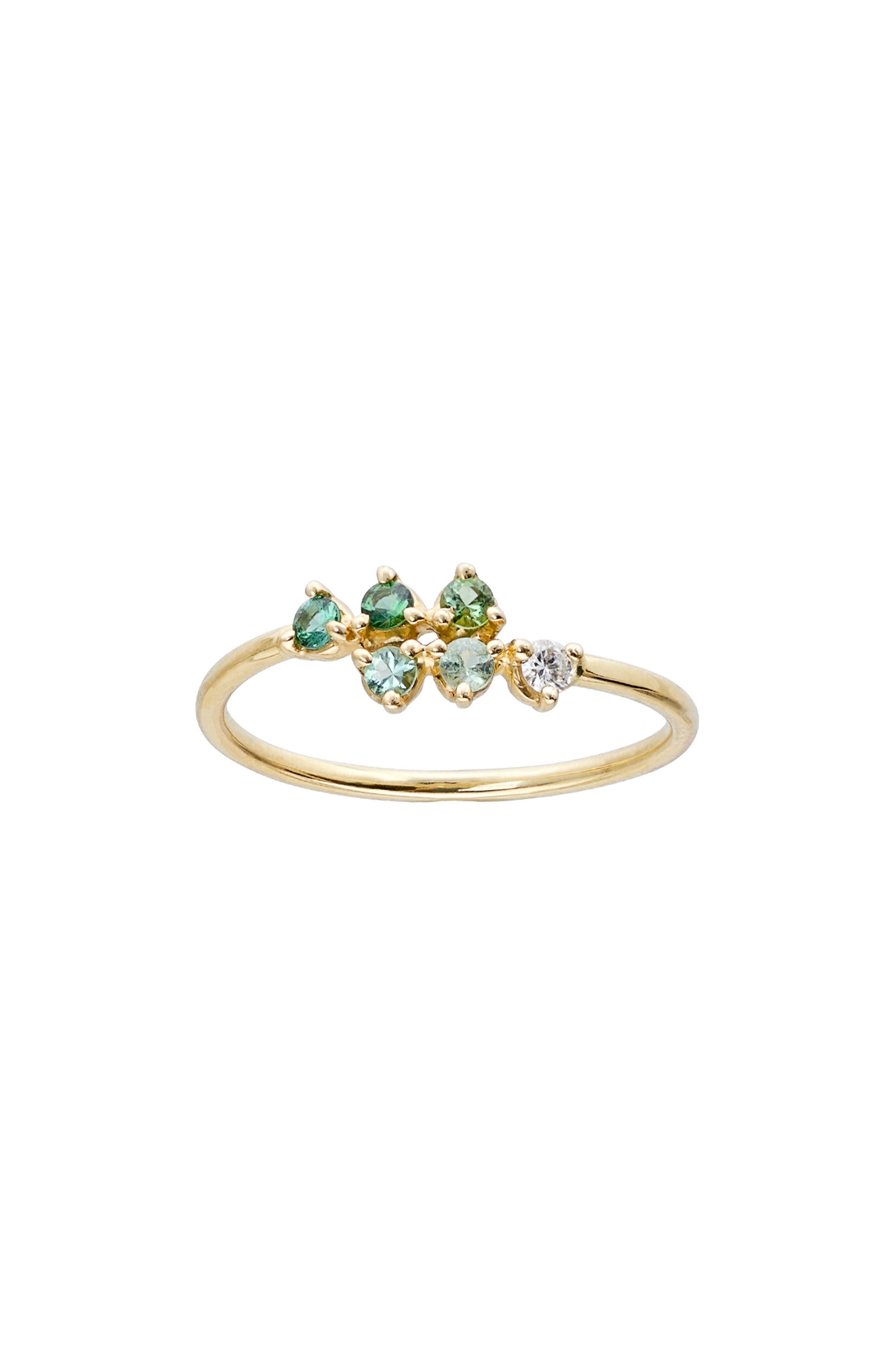 WWAKE Botany Mirrored Points Gradient Green Tourmaline & Diamond Ring in 14Kt Gold