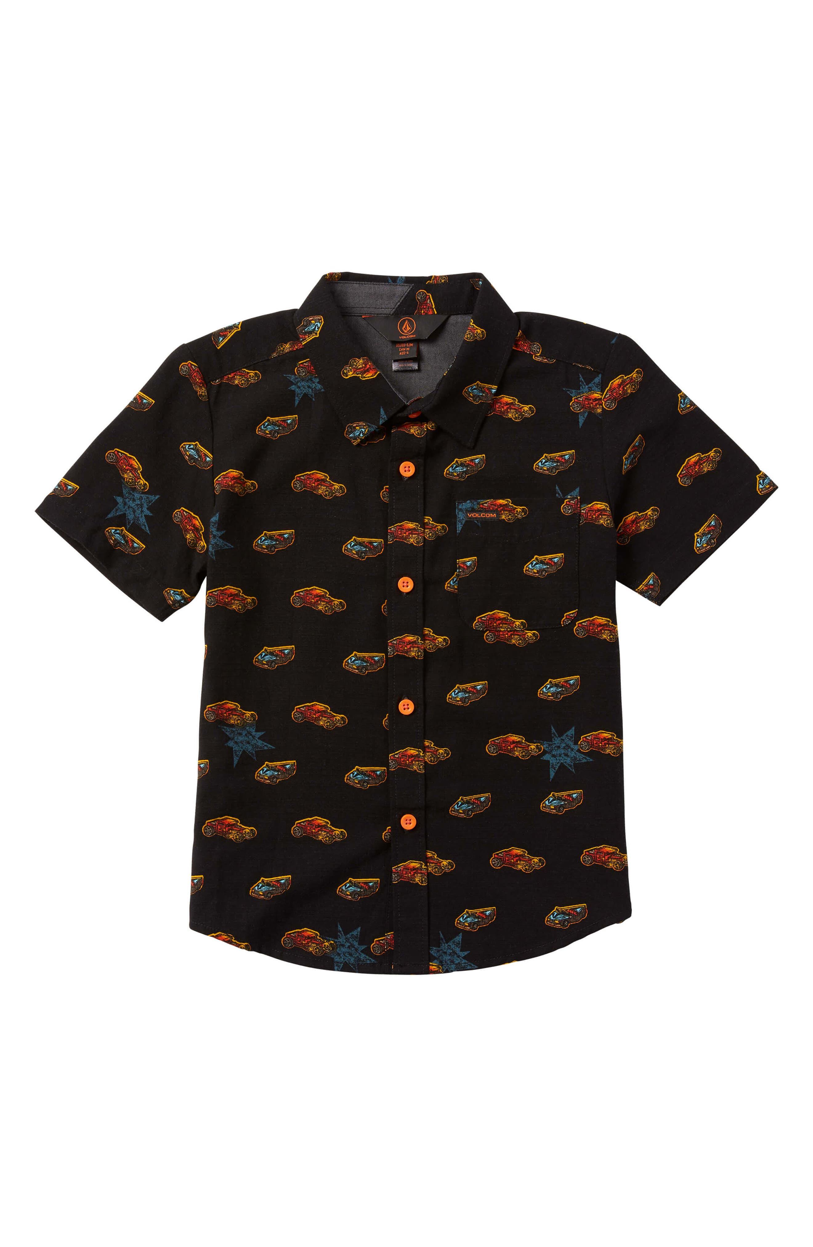 VOLCOM,                             x Hot Wheels<sup>®</sup> Woven Shirt,                             Main thumbnail 1, color,                             001