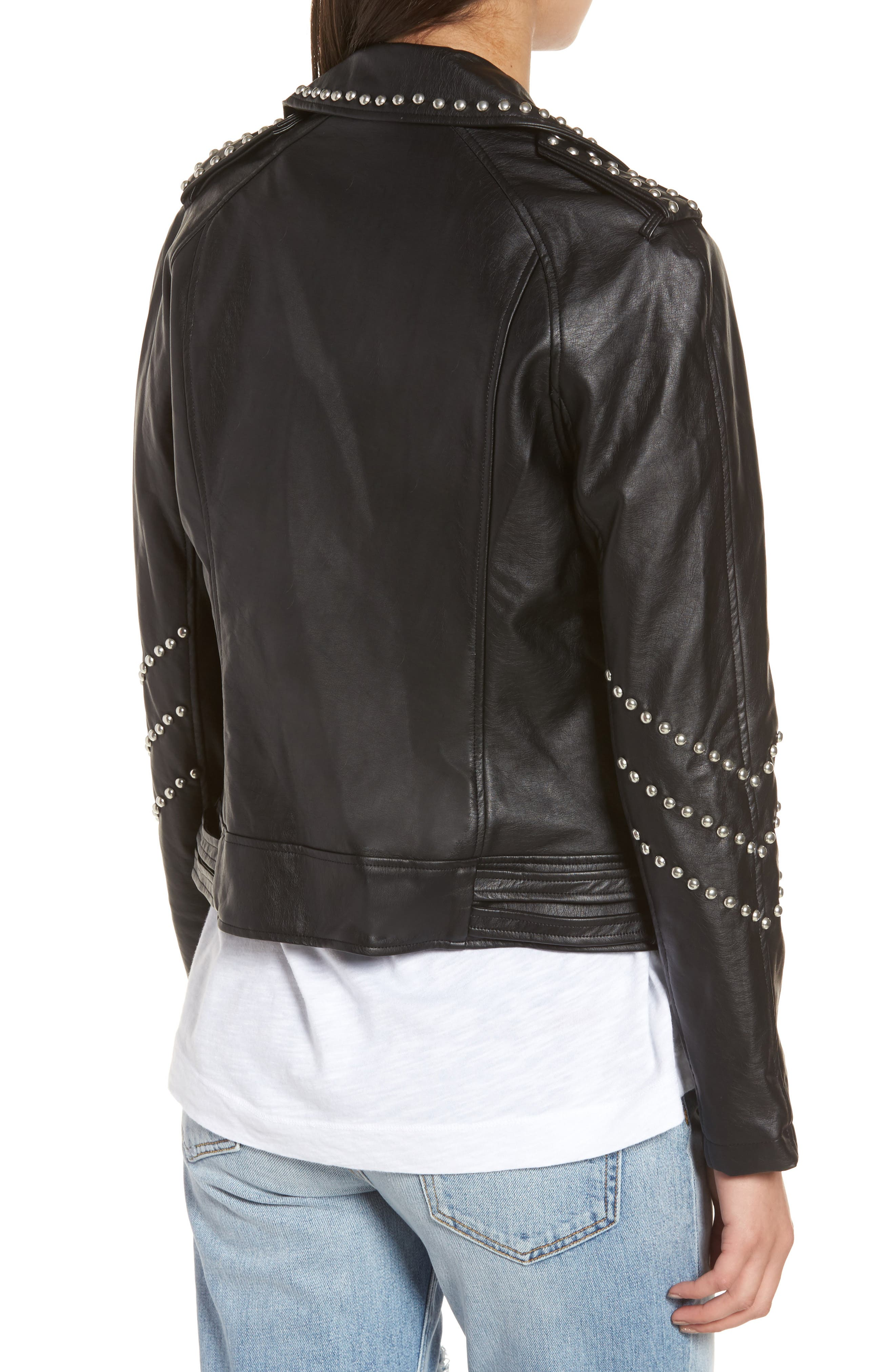 Jerilyn Studded Washed Faux Leather Jacket,                             Alternate thumbnail 2, color,                             001