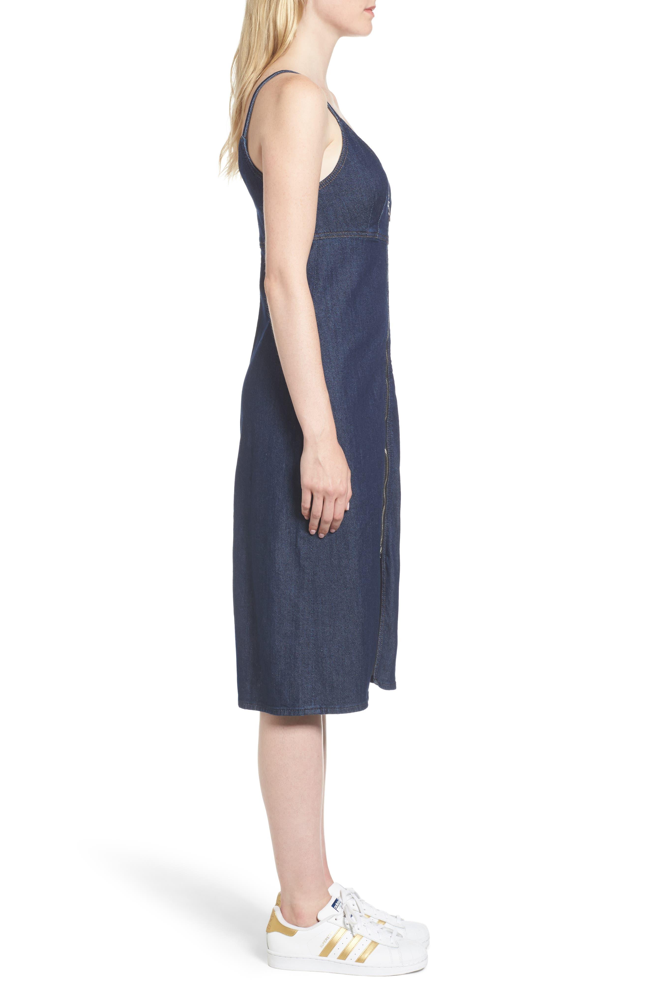 Denim Midi Dress,                             Alternate thumbnail 3, color,                             400