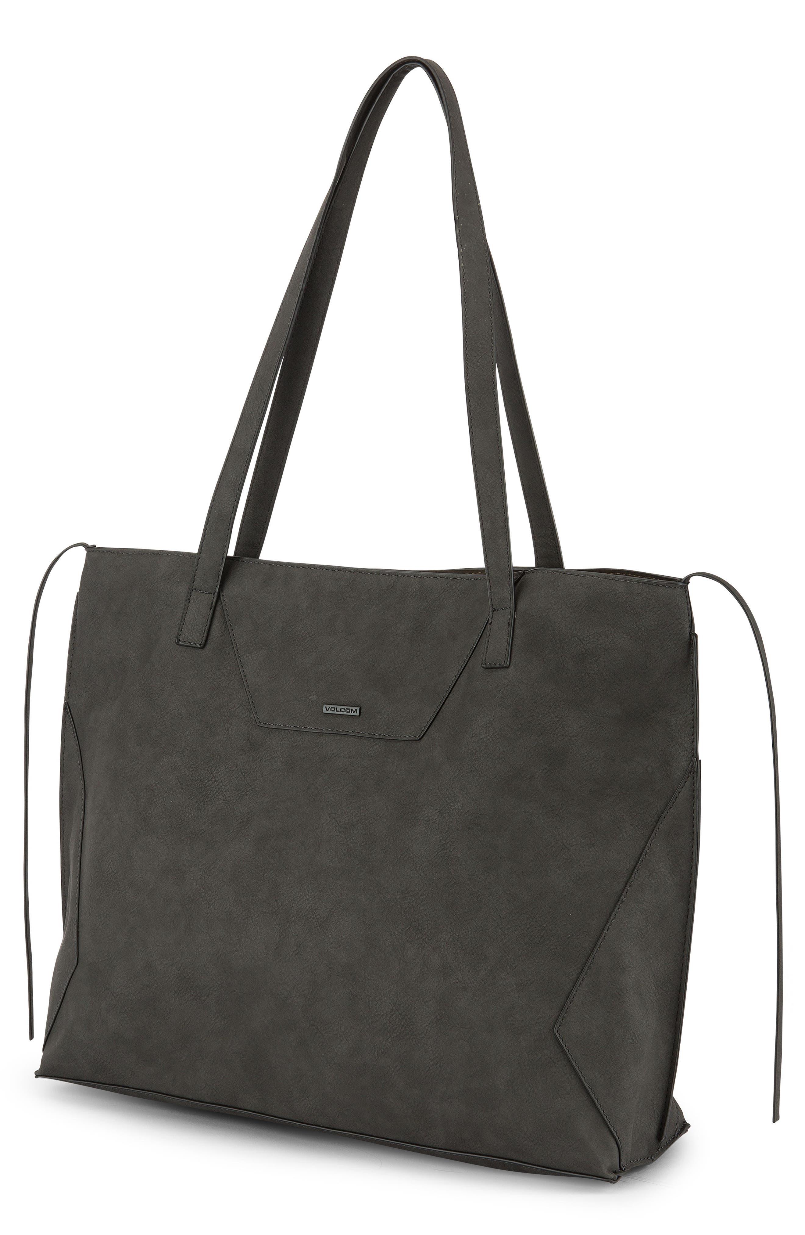 Volni Faux Leather Tote,                         Main,                         color, BLACK