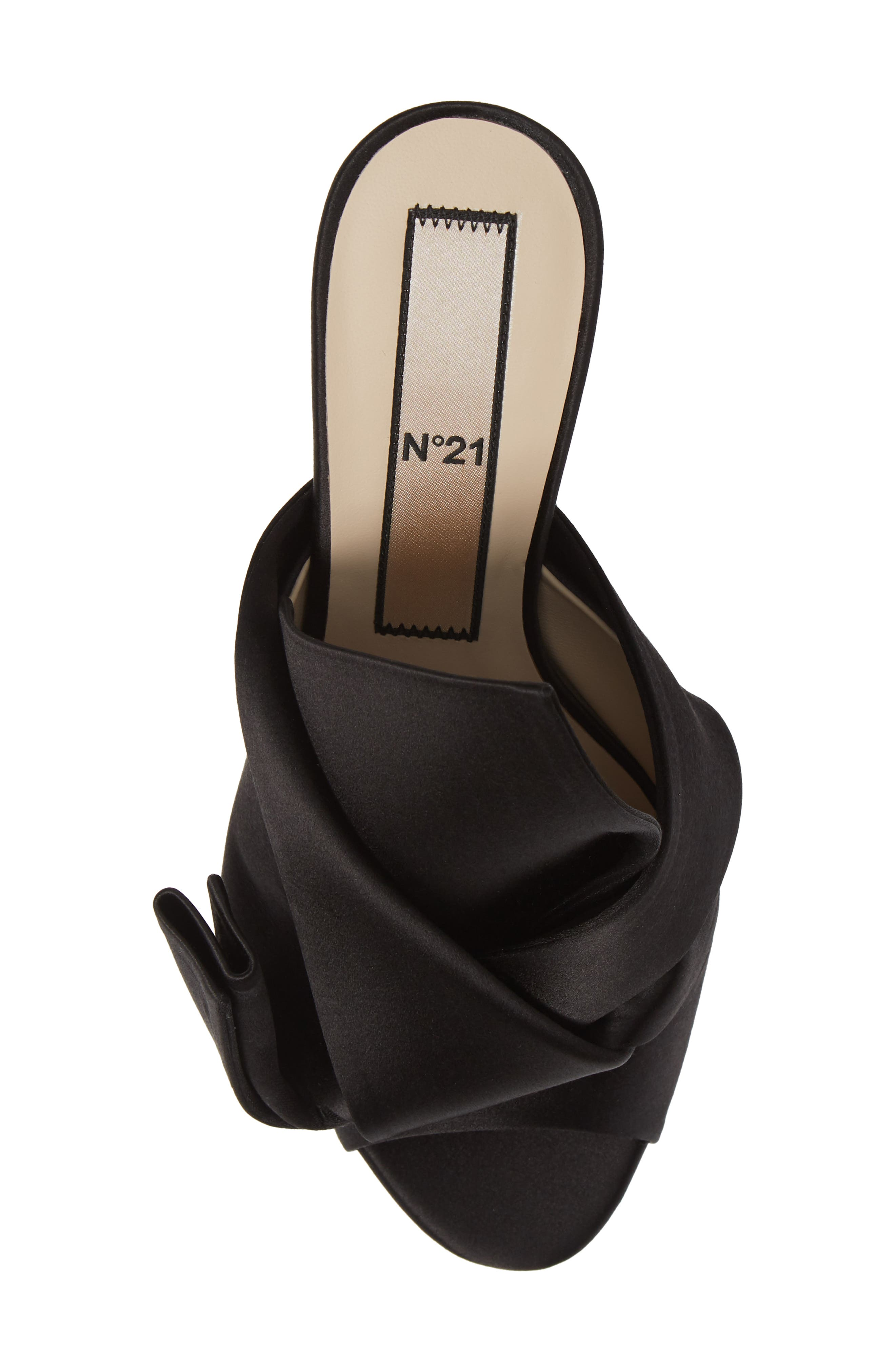 Bow Sandal,                             Alternate thumbnail 5, color,                             BLACK FABRIC
