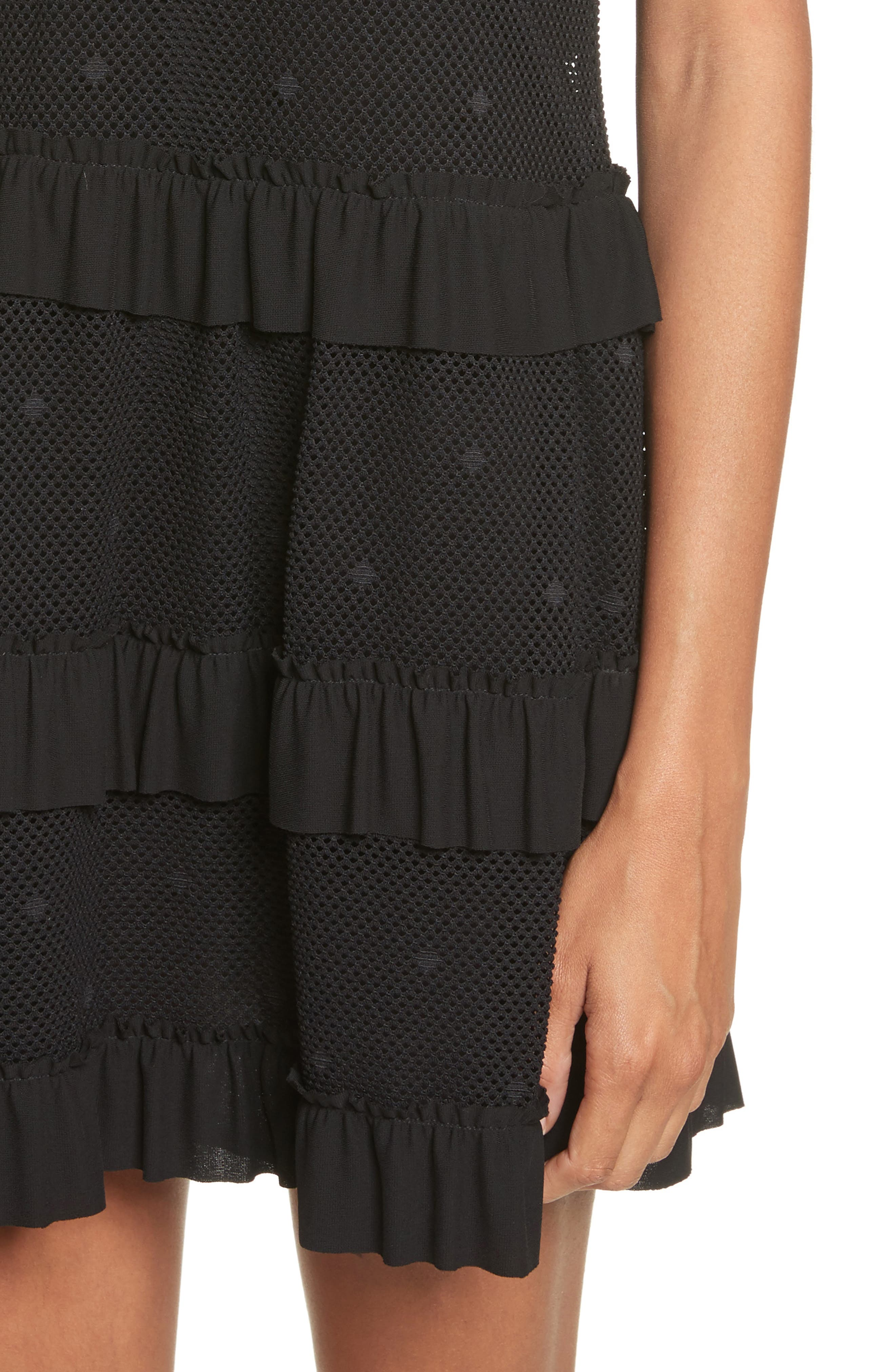 Jersey Mesh Point d'Esprit Dress,                             Alternate thumbnail 4, color,