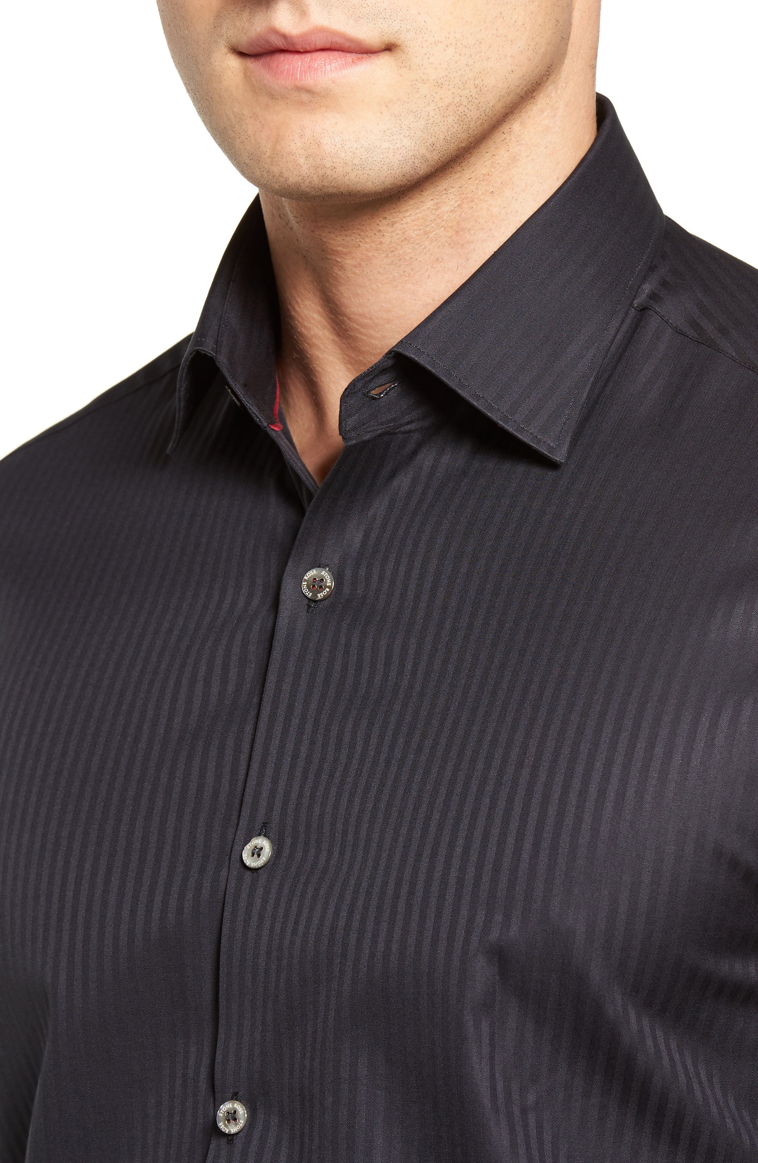 Tonal Stripe Sport Shirt,                             Alternate thumbnail 4, color,                             BLACK