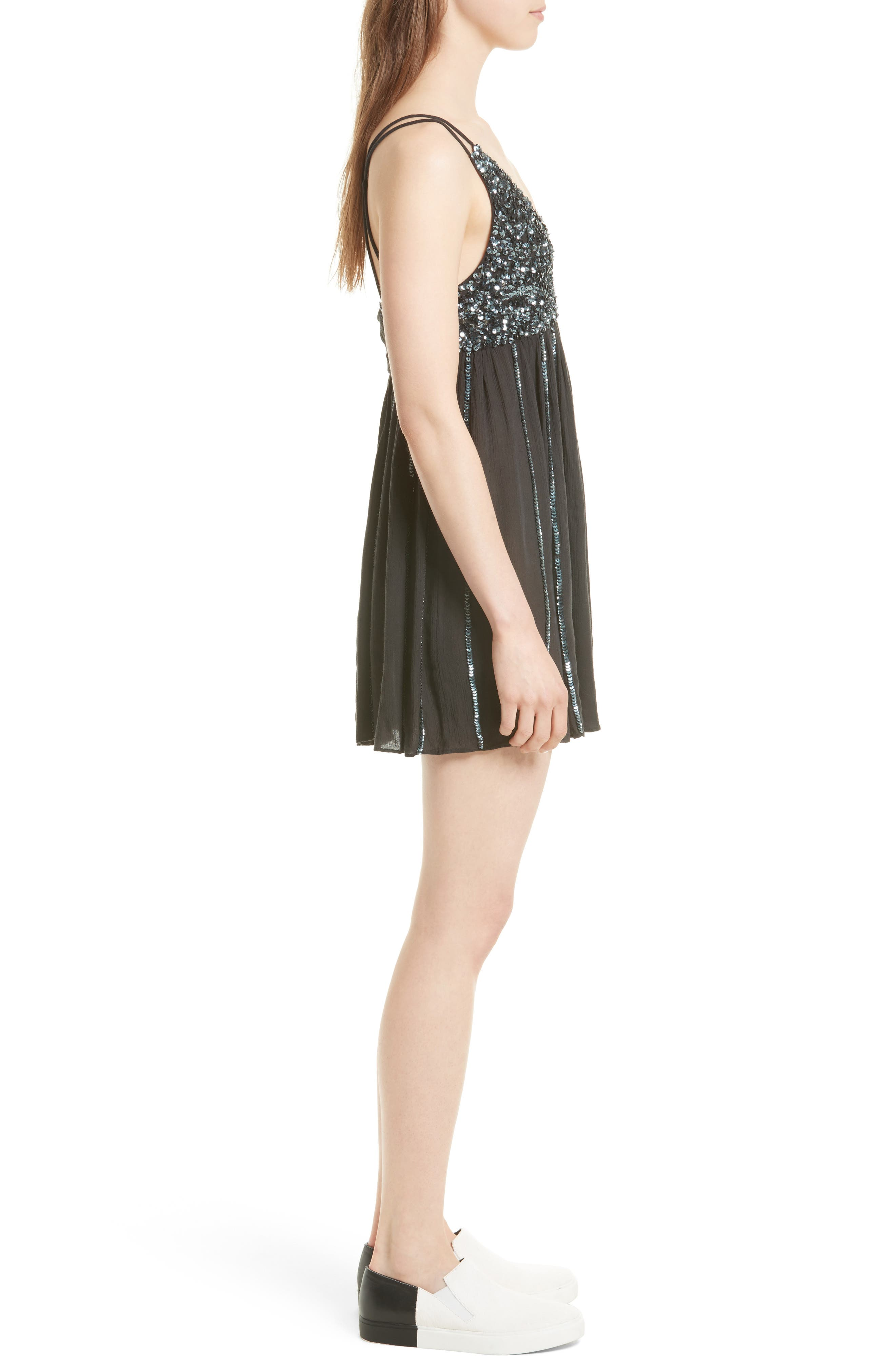 Glitter Girl Minidress,                             Alternate thumbnail 3, color,                             001