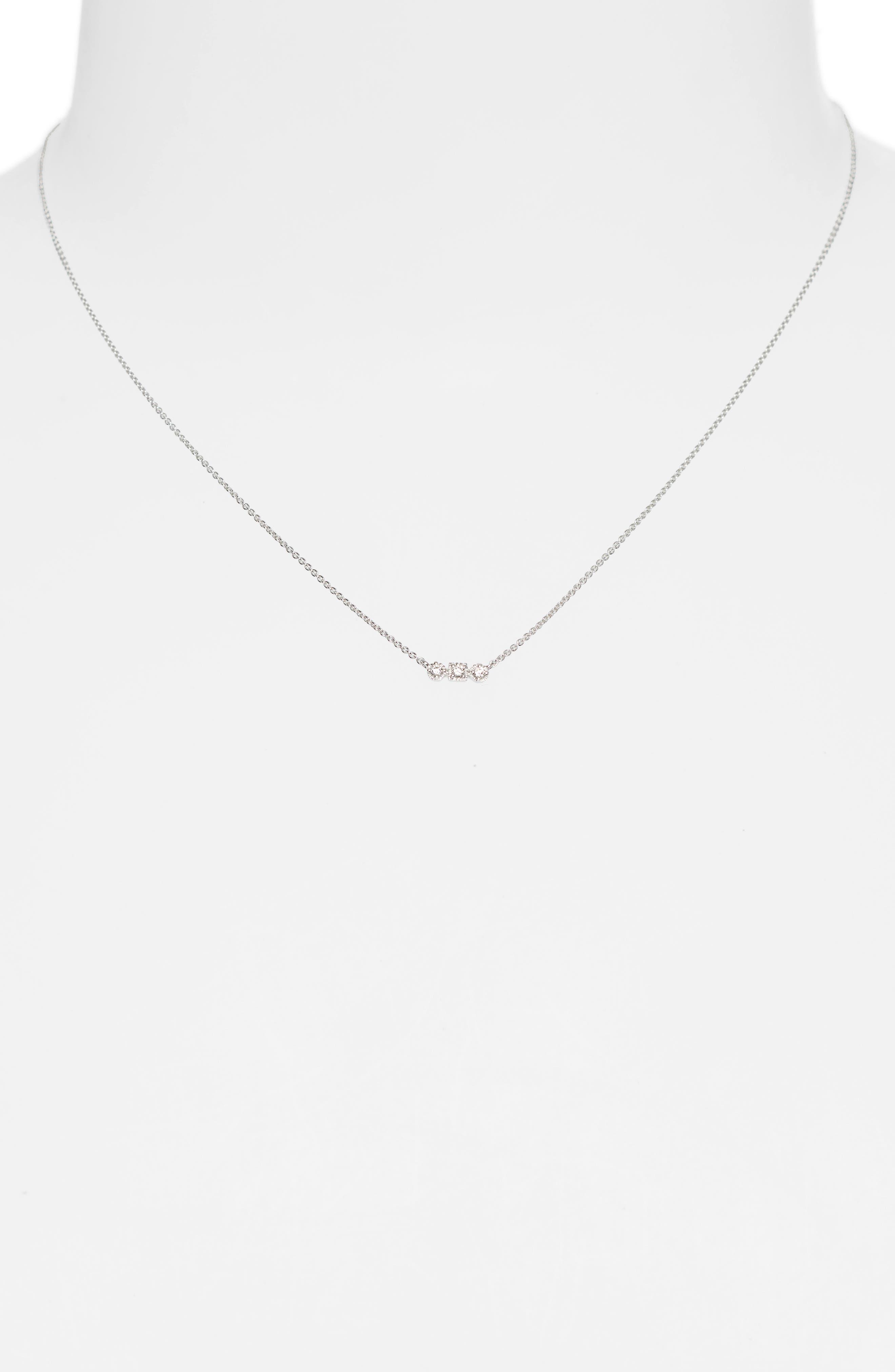 Maya 3-Stone Horizontal Necklace,                             Alternate thumbnail 2, color,                             WHITE GOLD/ DIAMOND