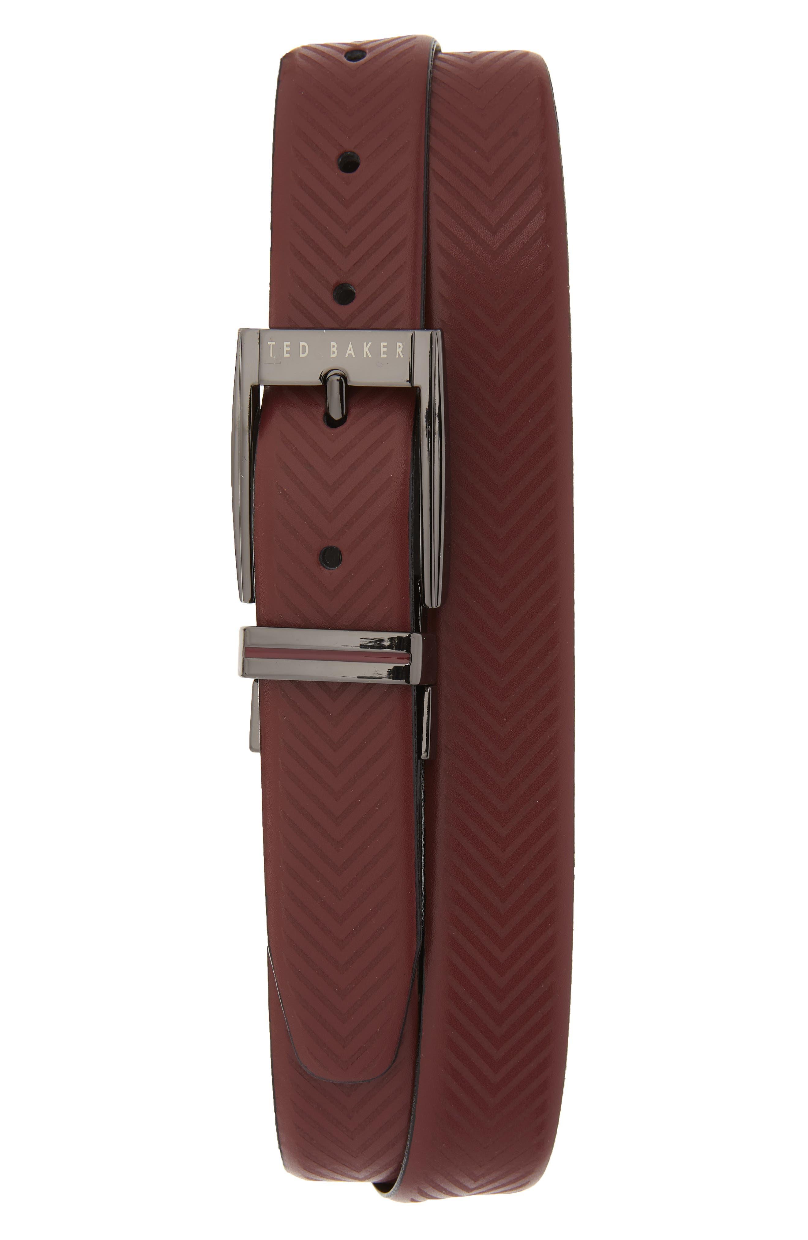 Ted Baker London Herringbone Reversible Belt, Chocolate