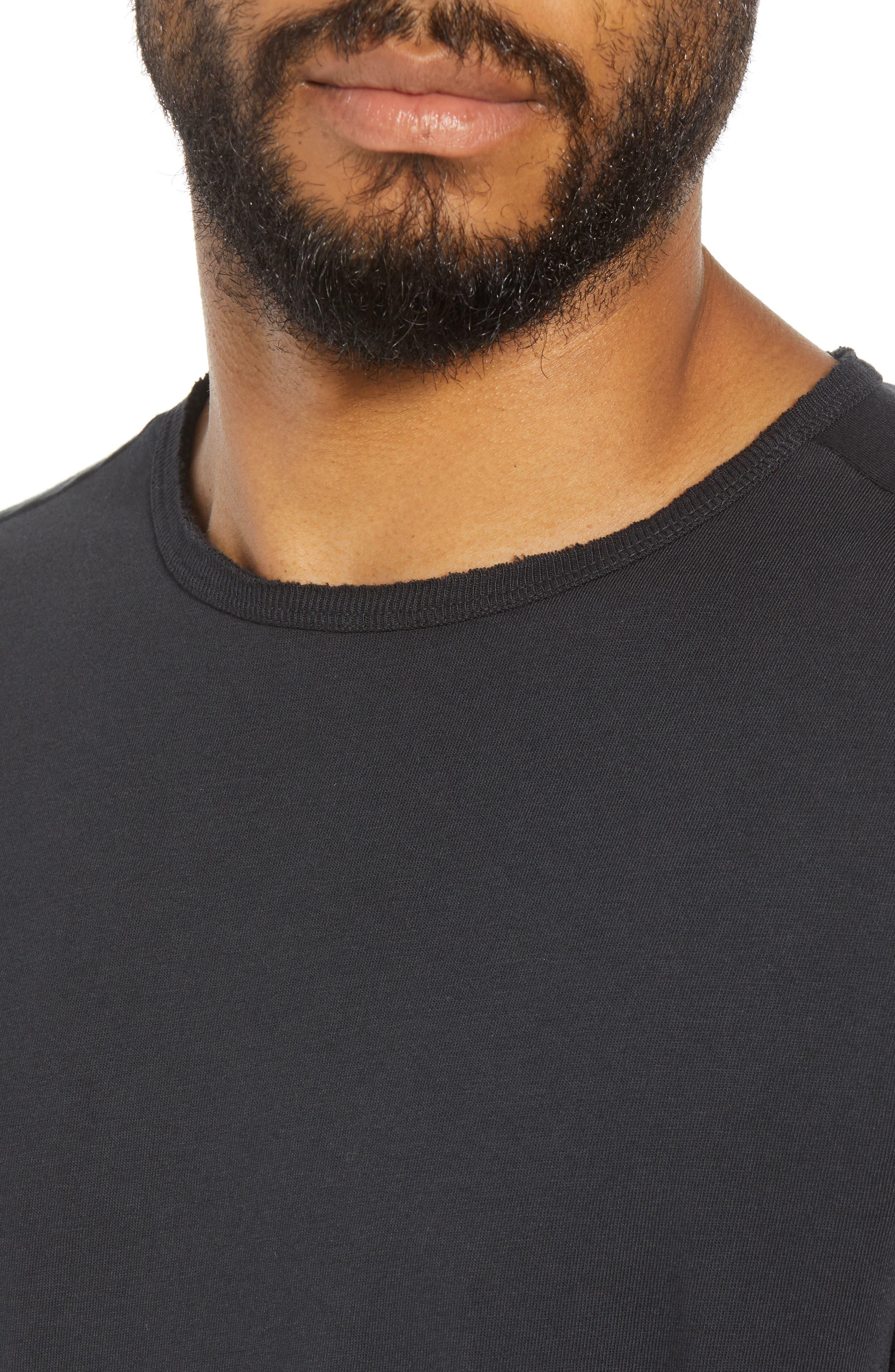 Regular Fit Elongated T-Shirt,                             Alternate thumbnail 4, color,                             BLACK