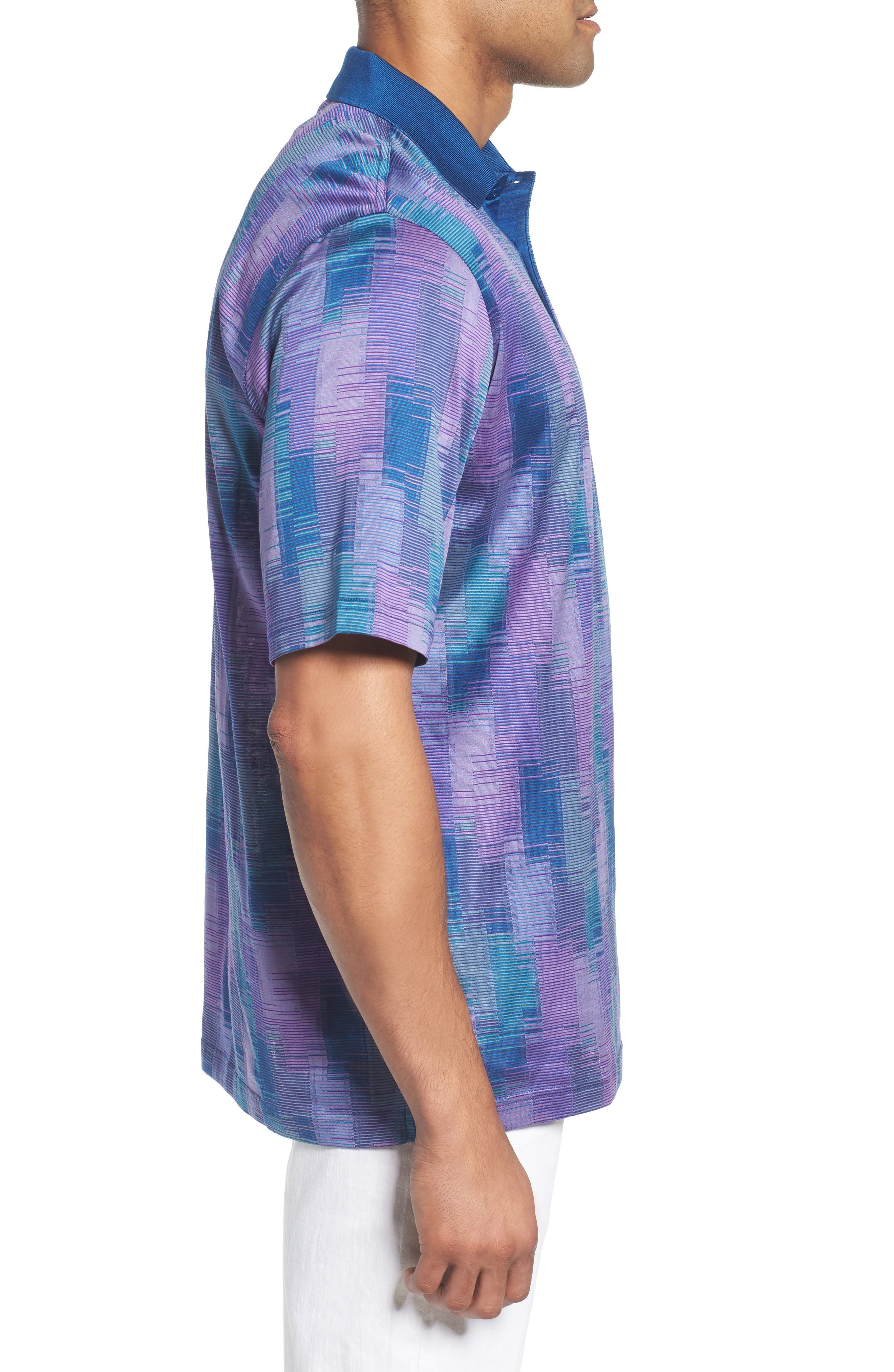 Abstract Stripe Mercerized Cotton Polo,                             Alternate thumbnail 3, color,                             ORCHID