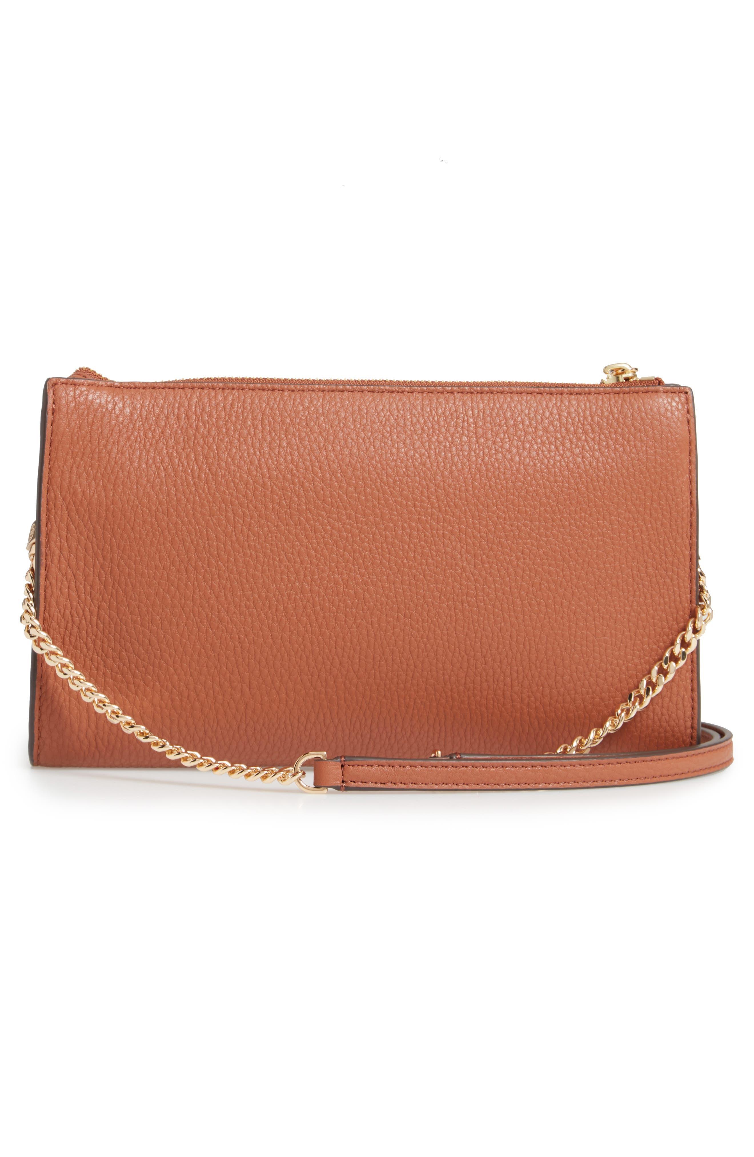 TORY BURCH,                             Pebbled Leather Top Zip Crossbody Bag,                             Alternate thumbnail 3, color,                             CLASSIC TAN