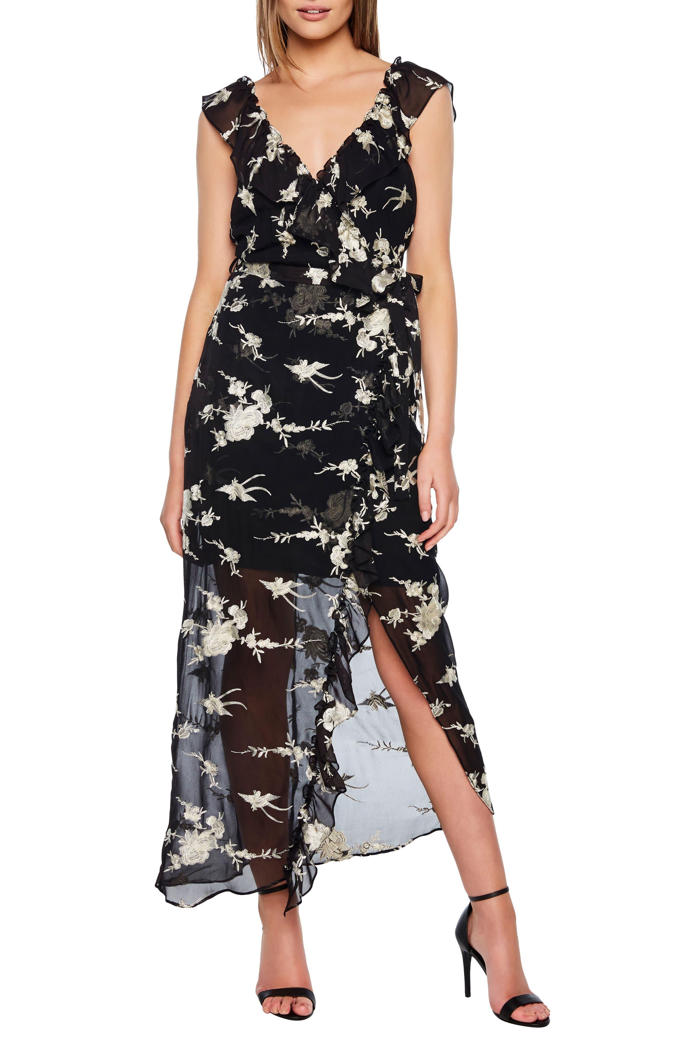 Bardot Embroidered Faux Wrap Dress, Black