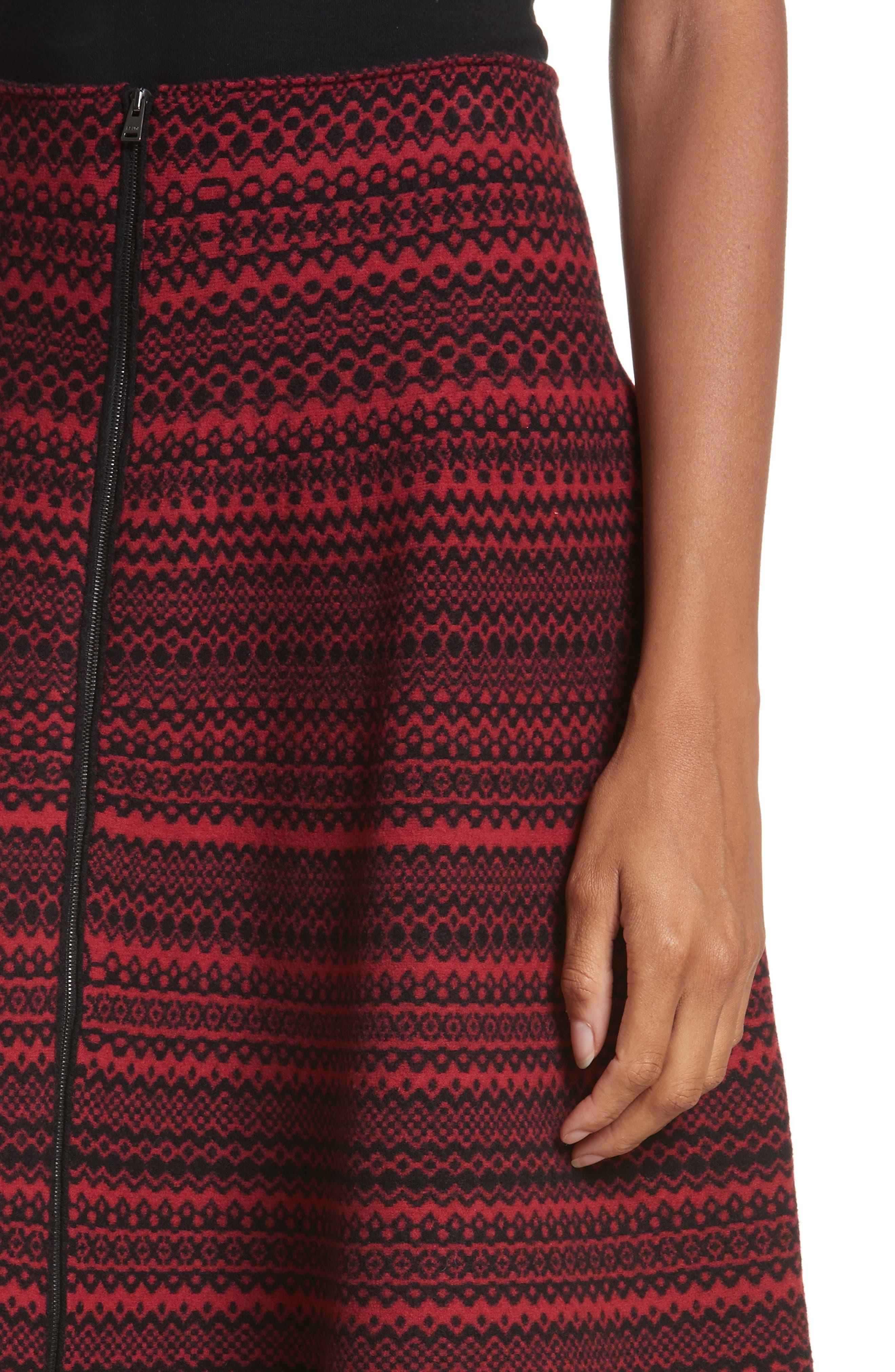 Fair Isle Wool Blend Skirt,                             Alternate thumbnail 4, color,                             600