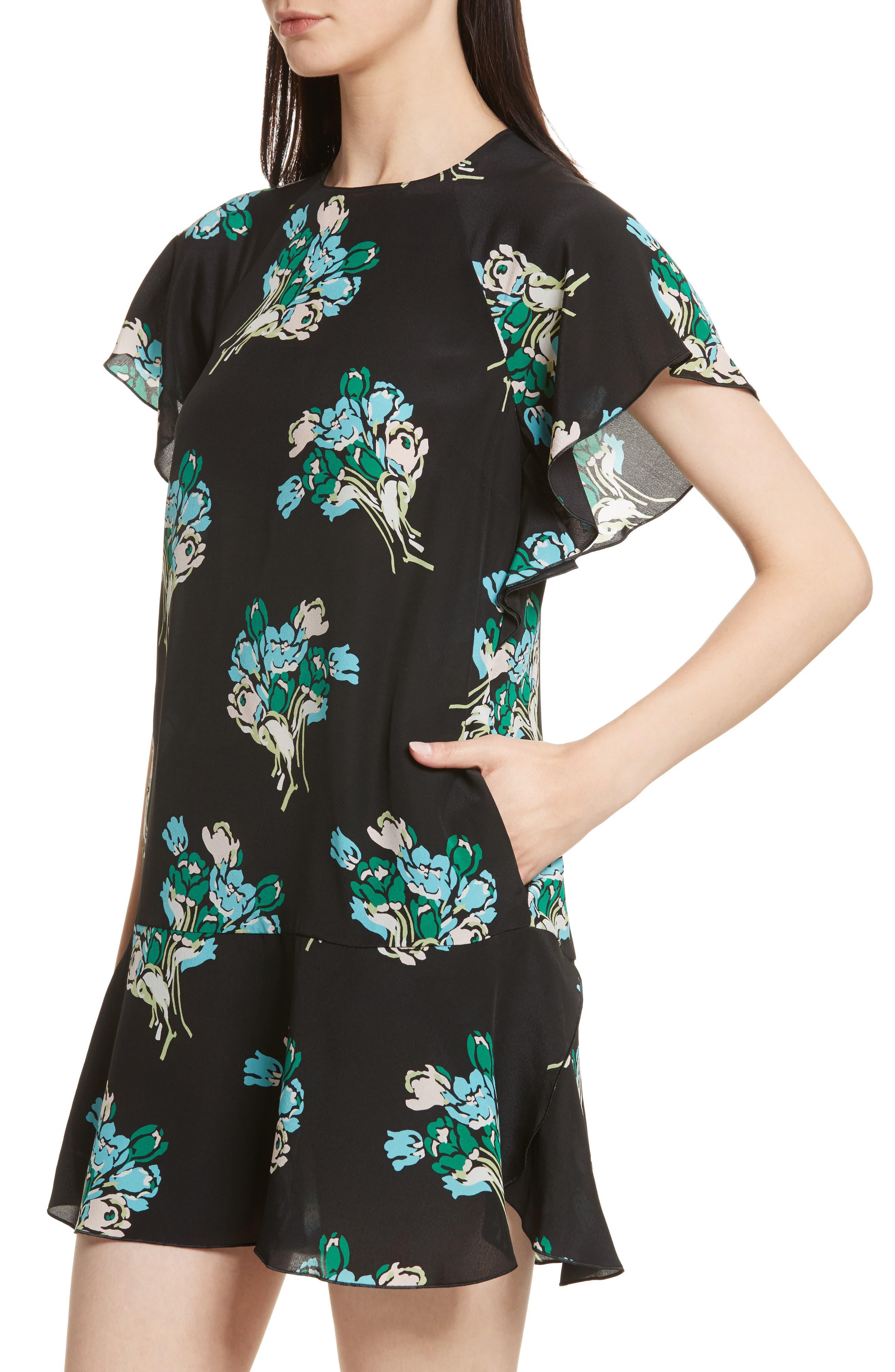 Floral Silk Crepe de Chine Dress,                             Alternate thumbnail 4, color,                             001