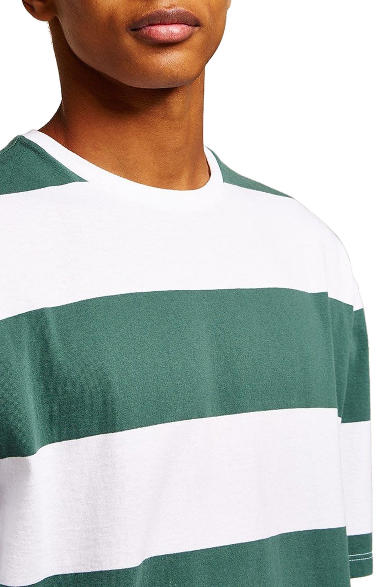 Wide Stripe Classic Fit T-Shirt,                             Alternate thumbnail 3, color,                             GREEN MULTI