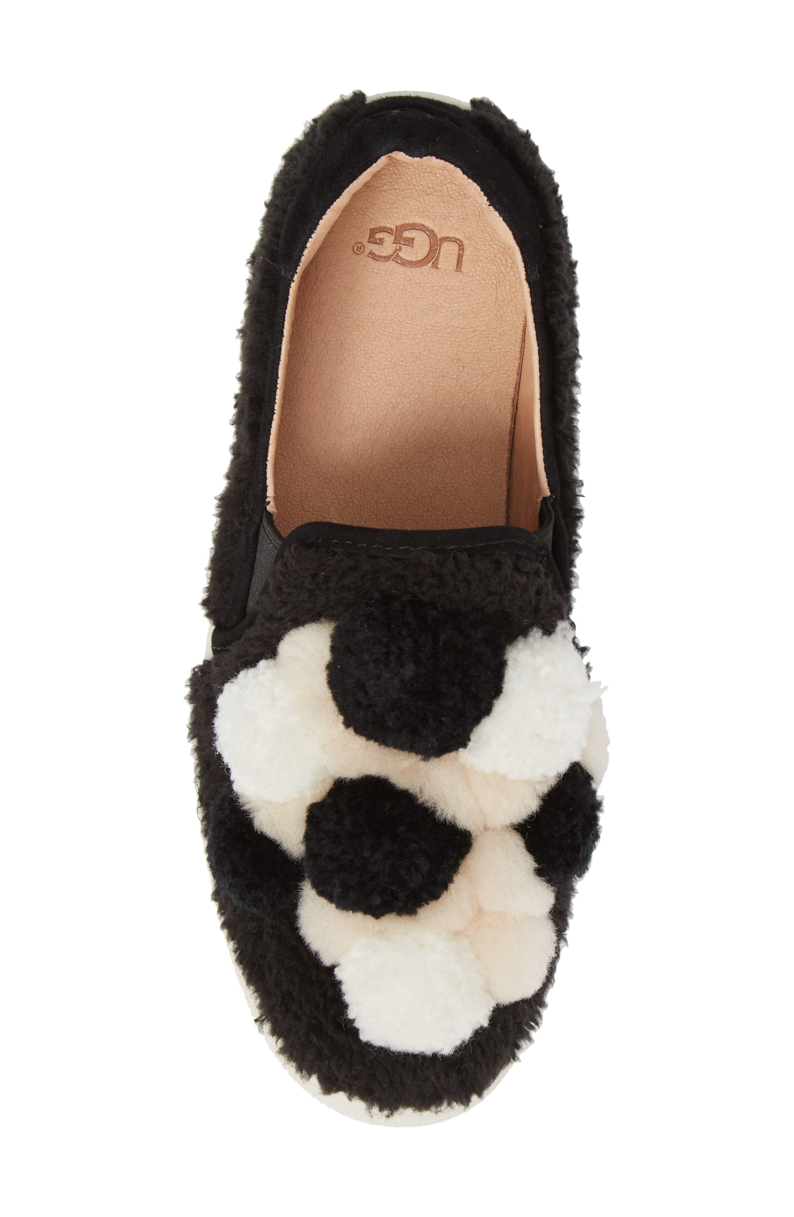 Ricci Plush Genuine Shearling Pompom Slip-On Sneaker,                             Alternate thumbnail 5, color,                             001