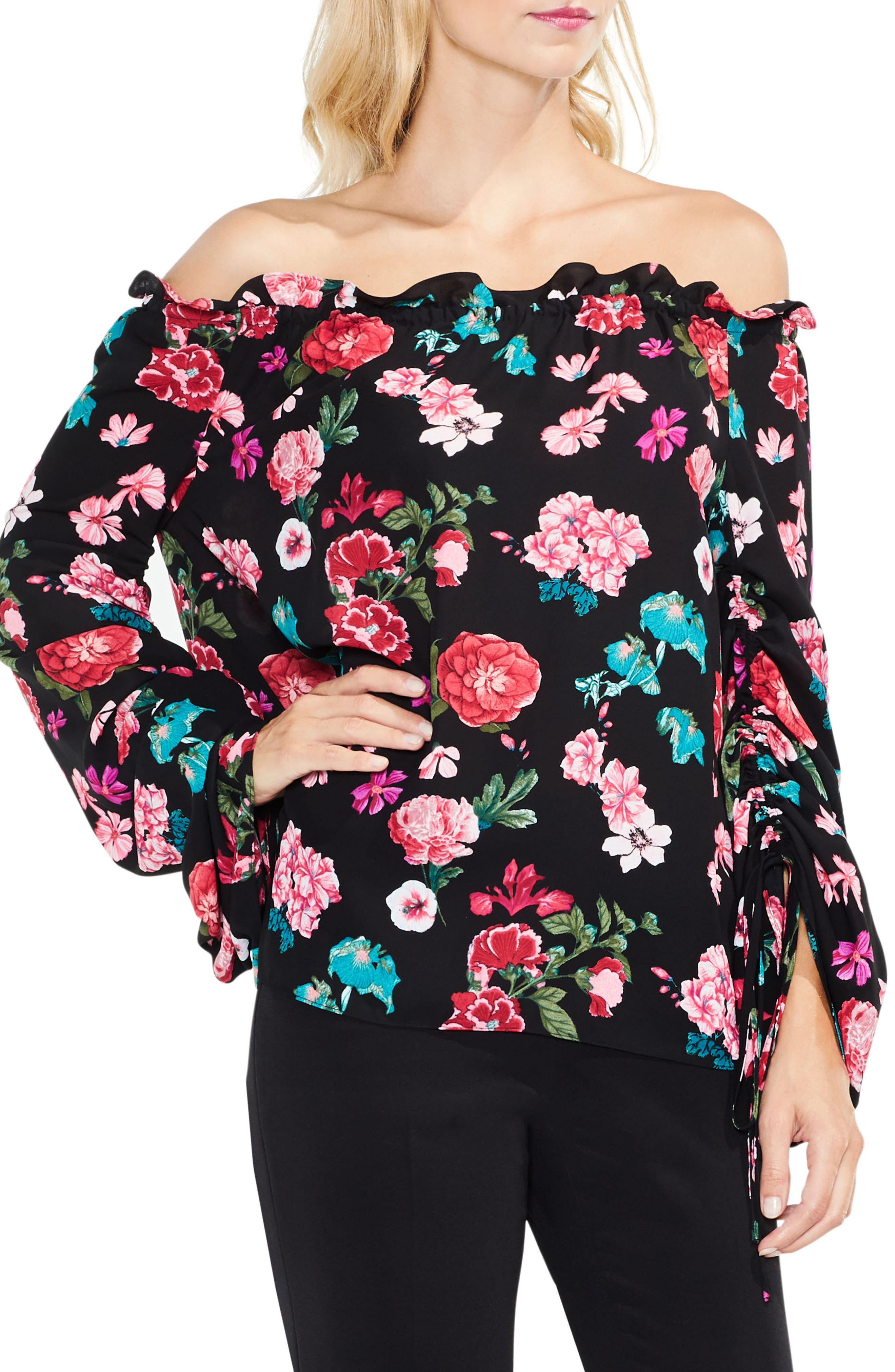 Off the Shoulder Floral Heirloom Top,                             Main thumbnail 1, color,                             006
